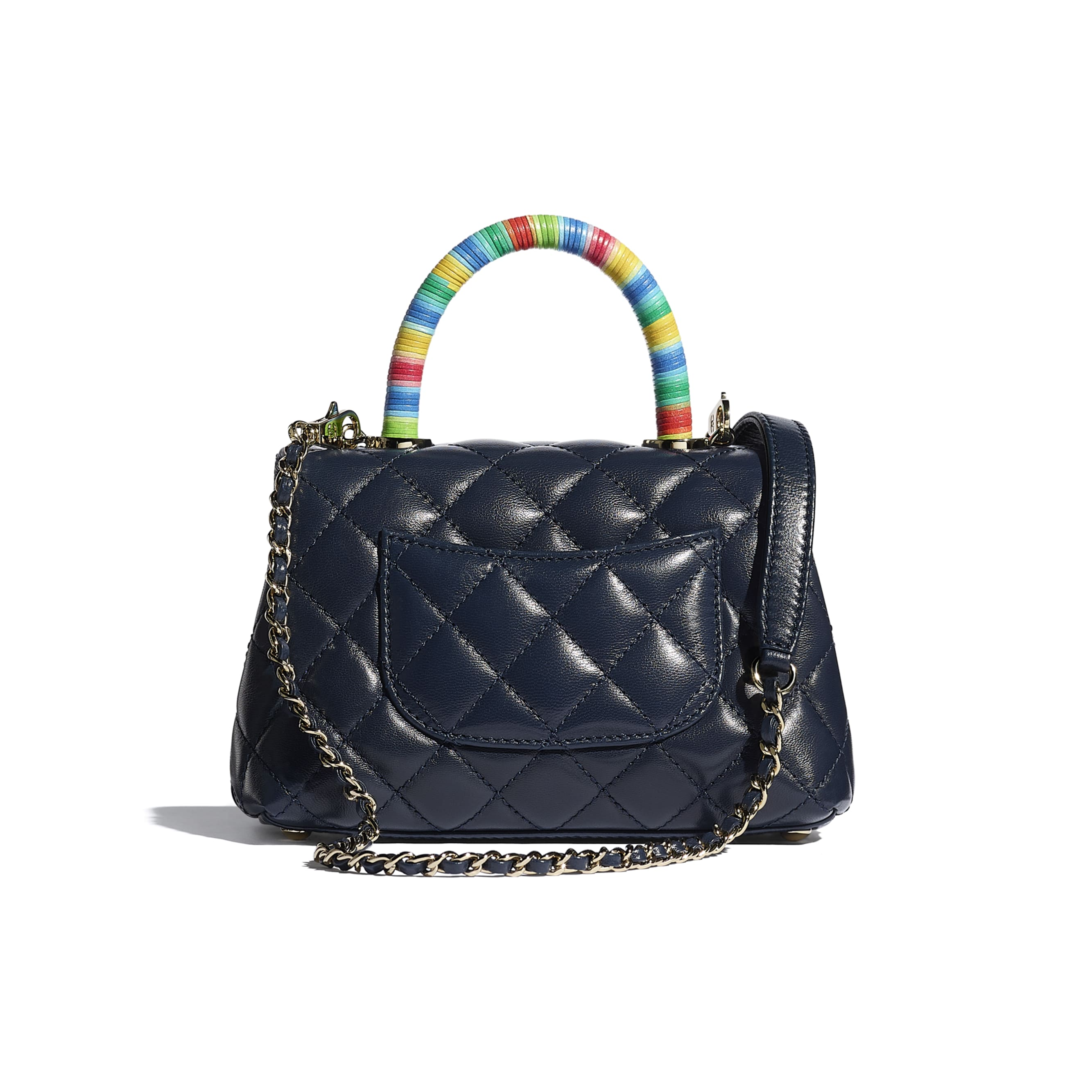 Mini Flap Bag with Top Handle - Navy Blue - Goatskin & Gold-Tone Metal - CHANEL - Alternative view - see standard sized version