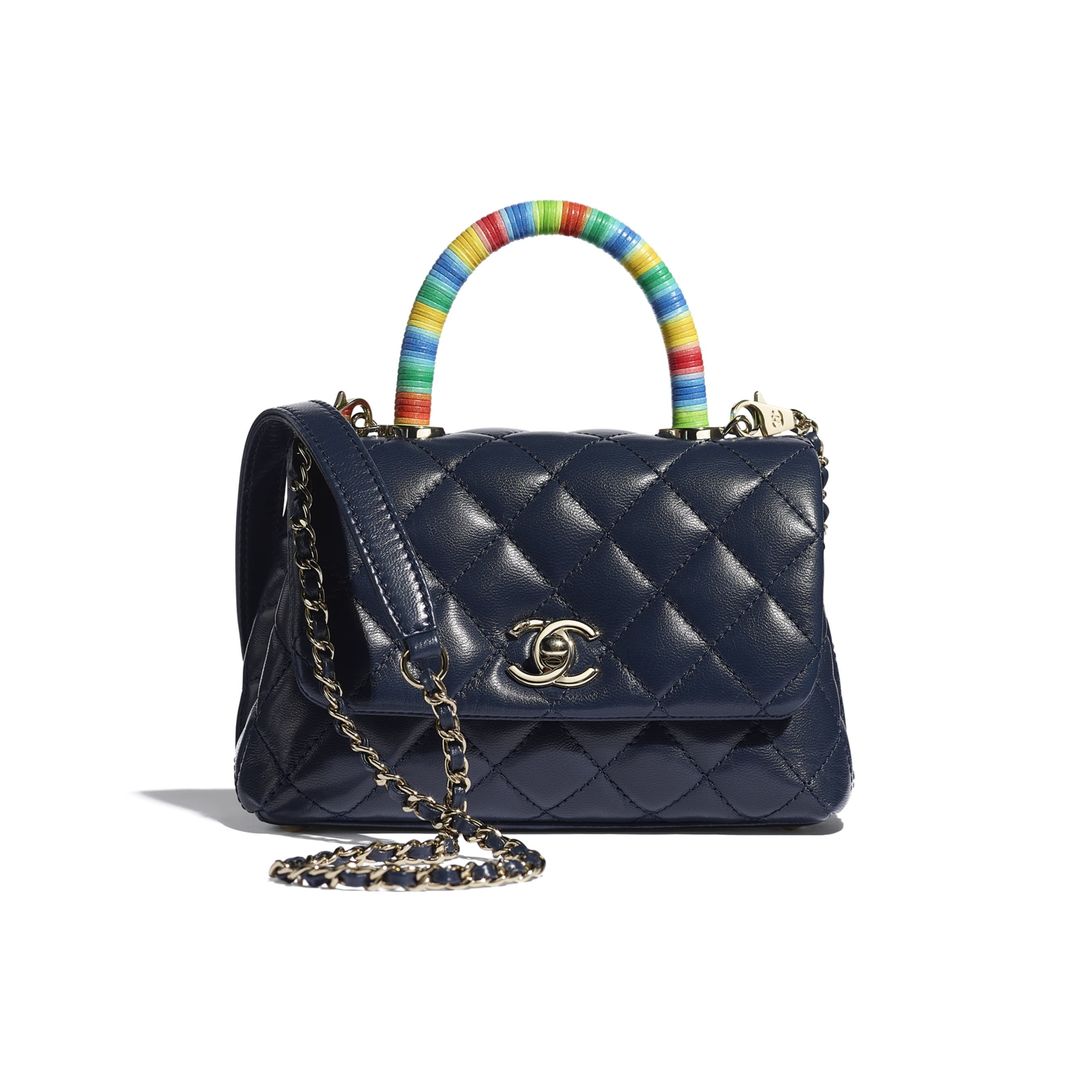 Mini Flap Bag with Top Handle - Navy Blue - Goatskin & Gold-Tone Metal - CHANEL - Default view - see standard sized version