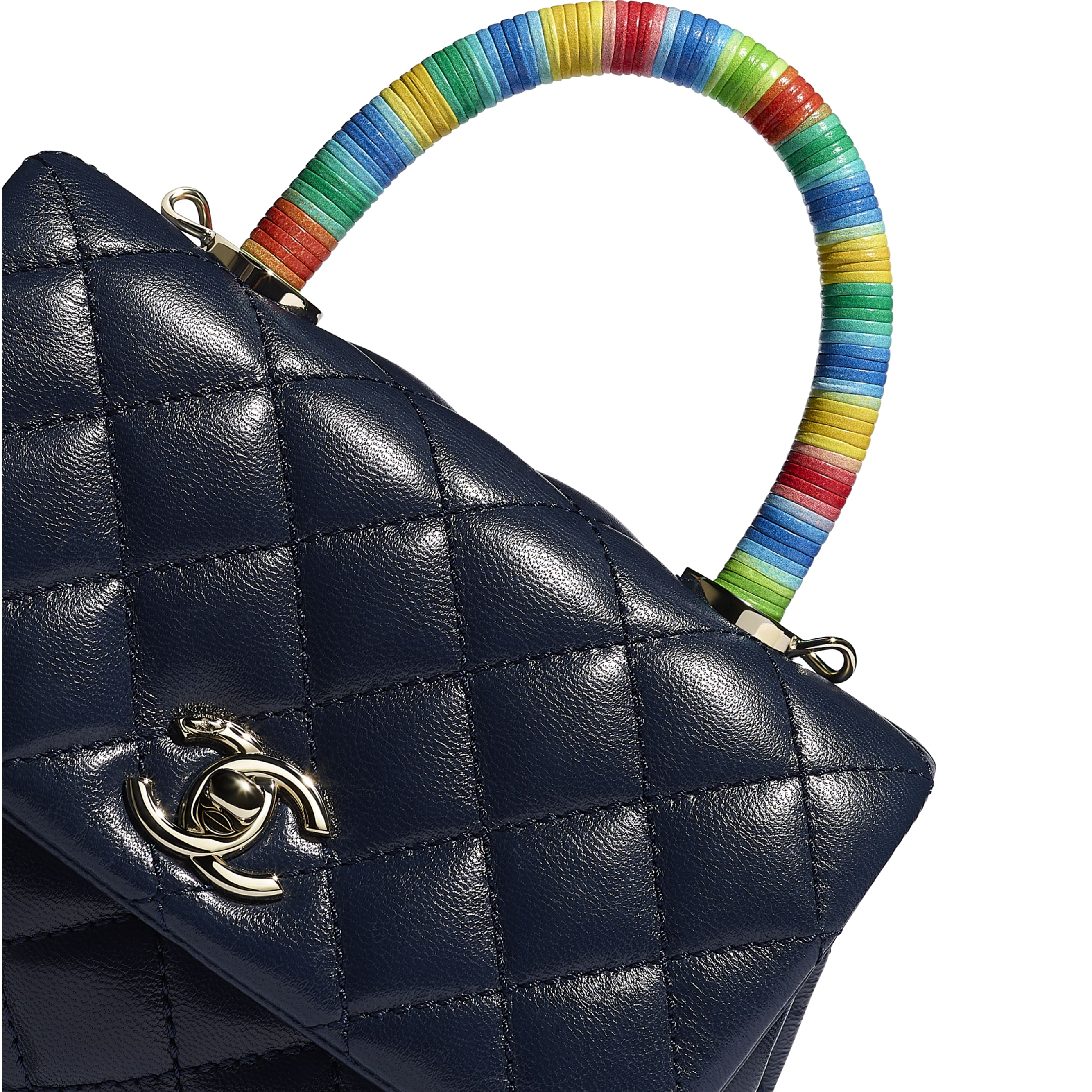 Mini Flap Bag with Top Handle - Navy Blue - Goatskin & Gold-Tone Metal - CHANEL - Extra view - see standard sized version