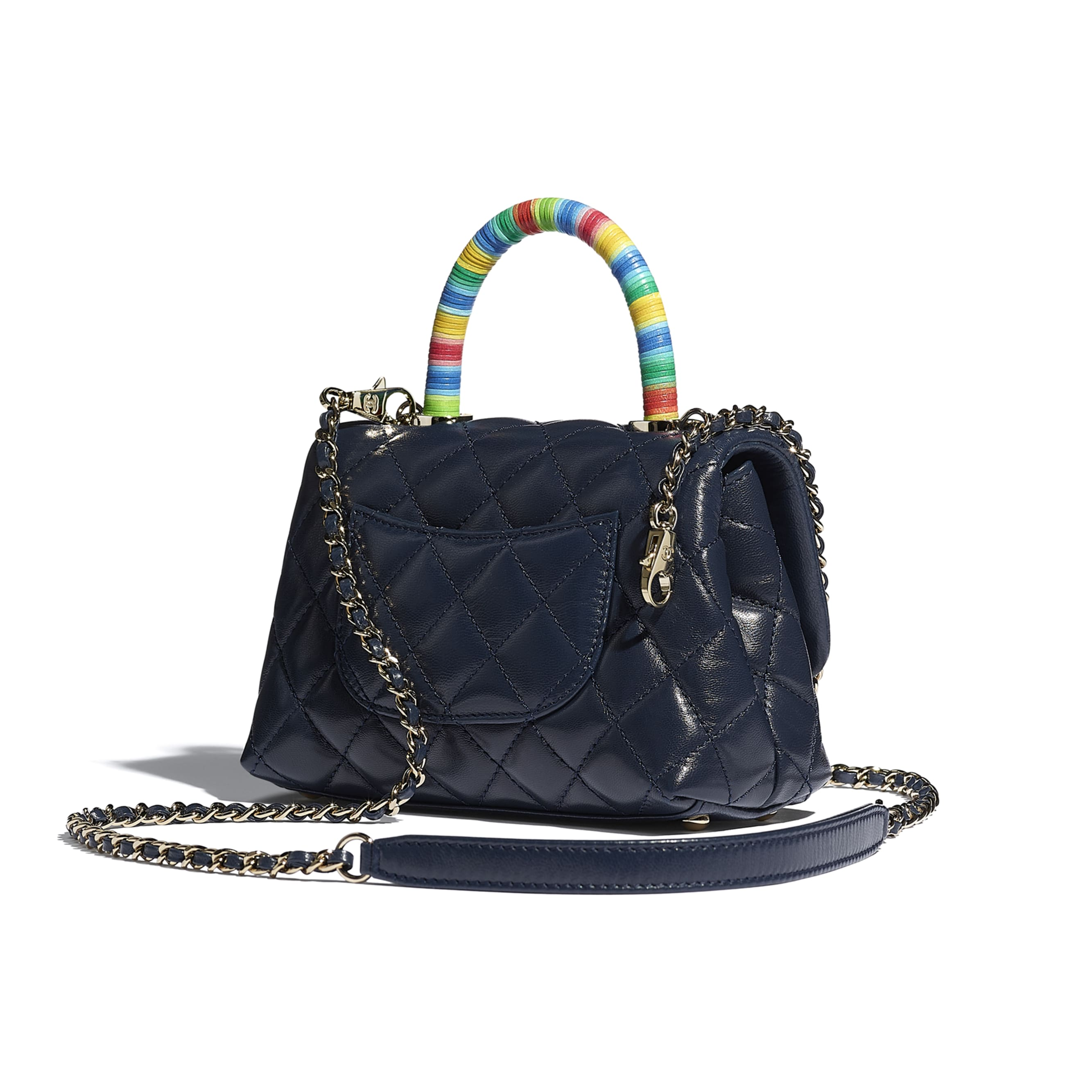 Mini Flap Bag with Top Handle - Navy Blue - Goatskin & Gold-Tone Metal - CHANEL - Other view - see standard sized version