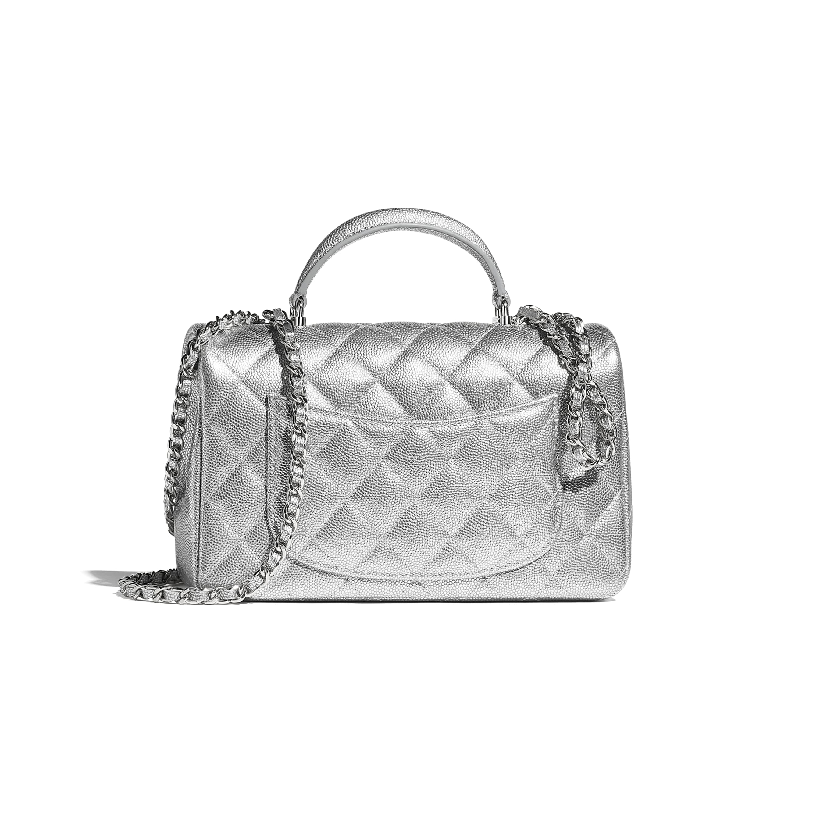 Mini Flap Bag with Top Handle - Silver - Metallic Grained Calfskin & Silver-Tone Metal - CHANEL - Alternative view - see standard sized version