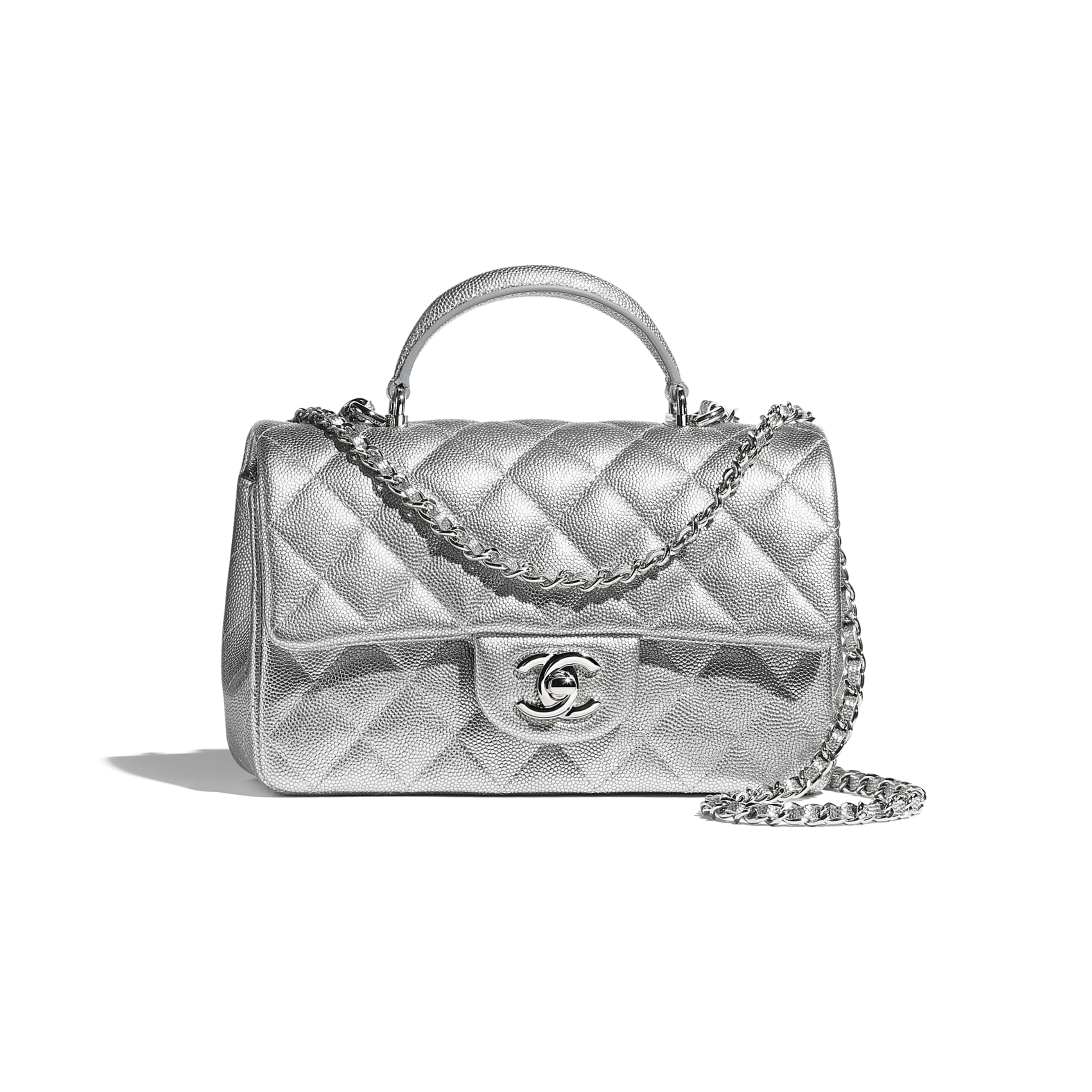 Mini Flap Bag with Top Handle - Silver - Metallic Grained Calfskin & Silver-Tone Metal - CHANEL - Default view - see standard sized version