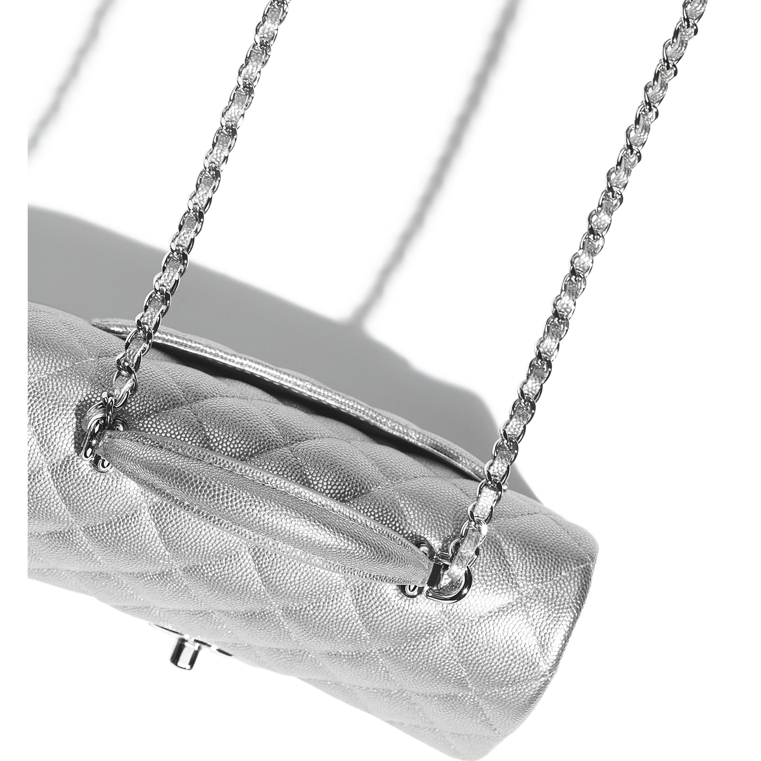 Mini Flap Bag with Top Handle - Silver - Metallic Grained Calfskin & Silver-Tone Metal - CHANEL - Extra view - see standard sized version