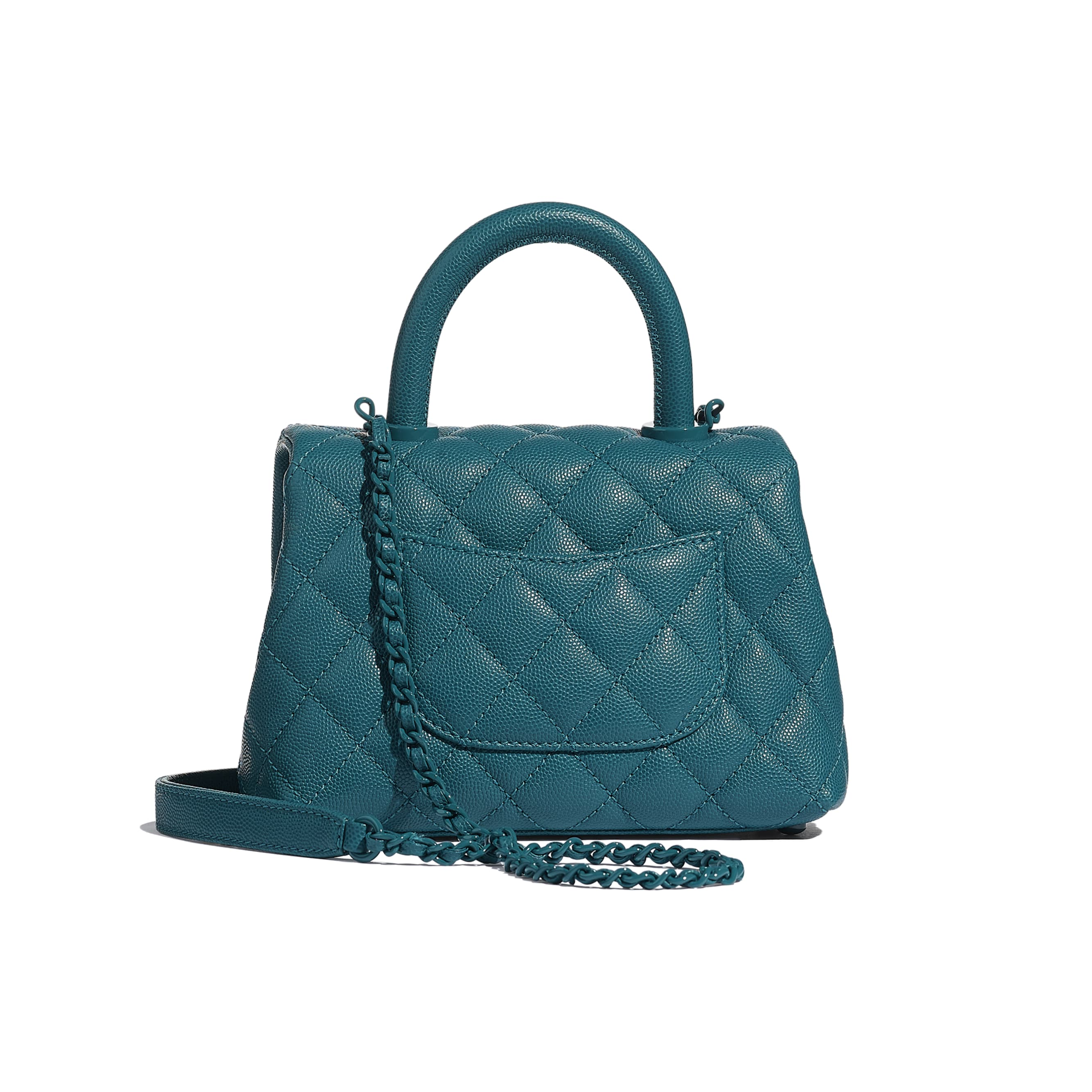 Mini Flap Bag with Top Handle - Turquoise - Grained Calfskin & Lacquered Metal - CHANEL - Vista alternativa - ver a versão em tamanho standard