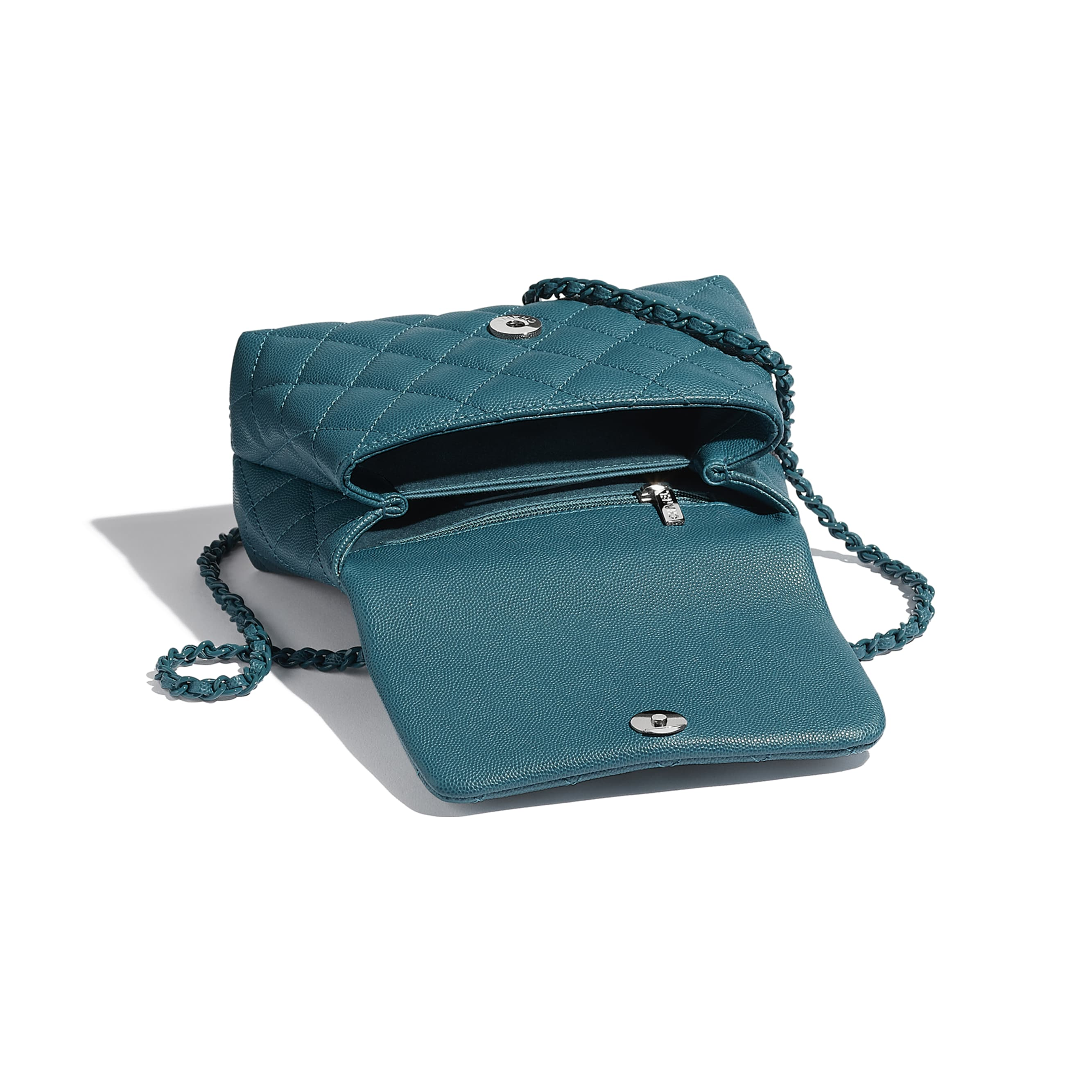 Mini Flap Bag with Top Handle - Turquoise - Grained Calfskin & Lacquered Metal - CHANEL - Outra vista - ver a versão em tamanho standard