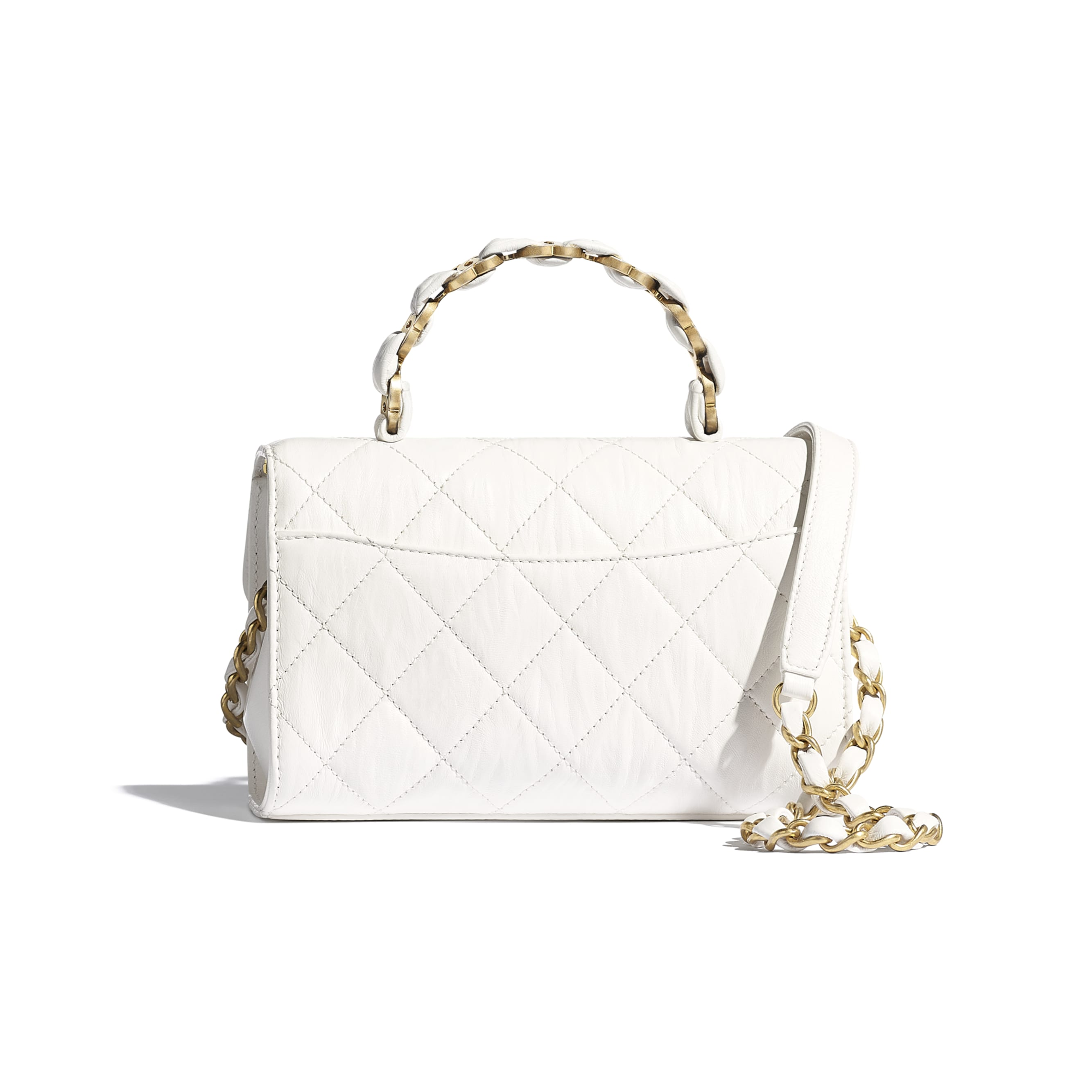 Mini Flap Bag with Top Handle - White - Crumpled Lambskin & Gold-Tone Metal - CHANEL - Alternative view - see standard sized version