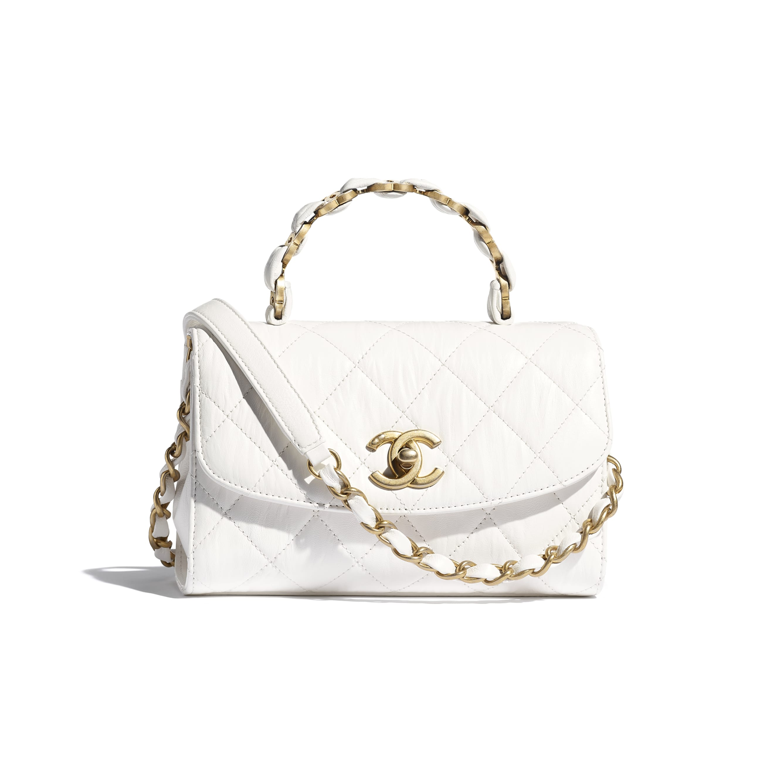 Mini Flap Bag with Top Handle - White - Crumpled Lambskin & Gold-Tone Metal - CHANEL - Default view - see standard sized version