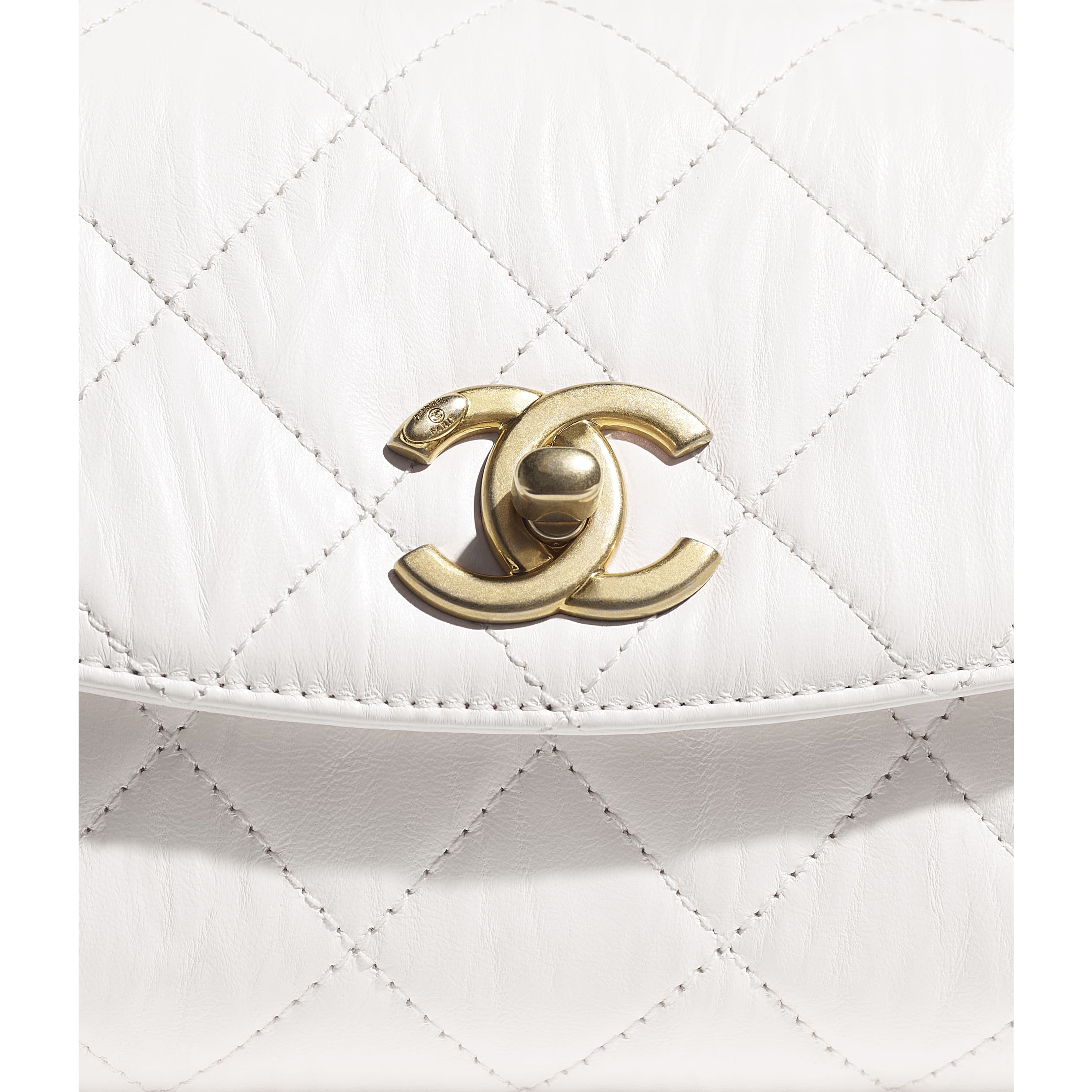 Mini Flap Bag with Top Handle - White - Crumpled Lambskin & Gold-Tone Metal - CHANEL - Extra view - see standard sized version