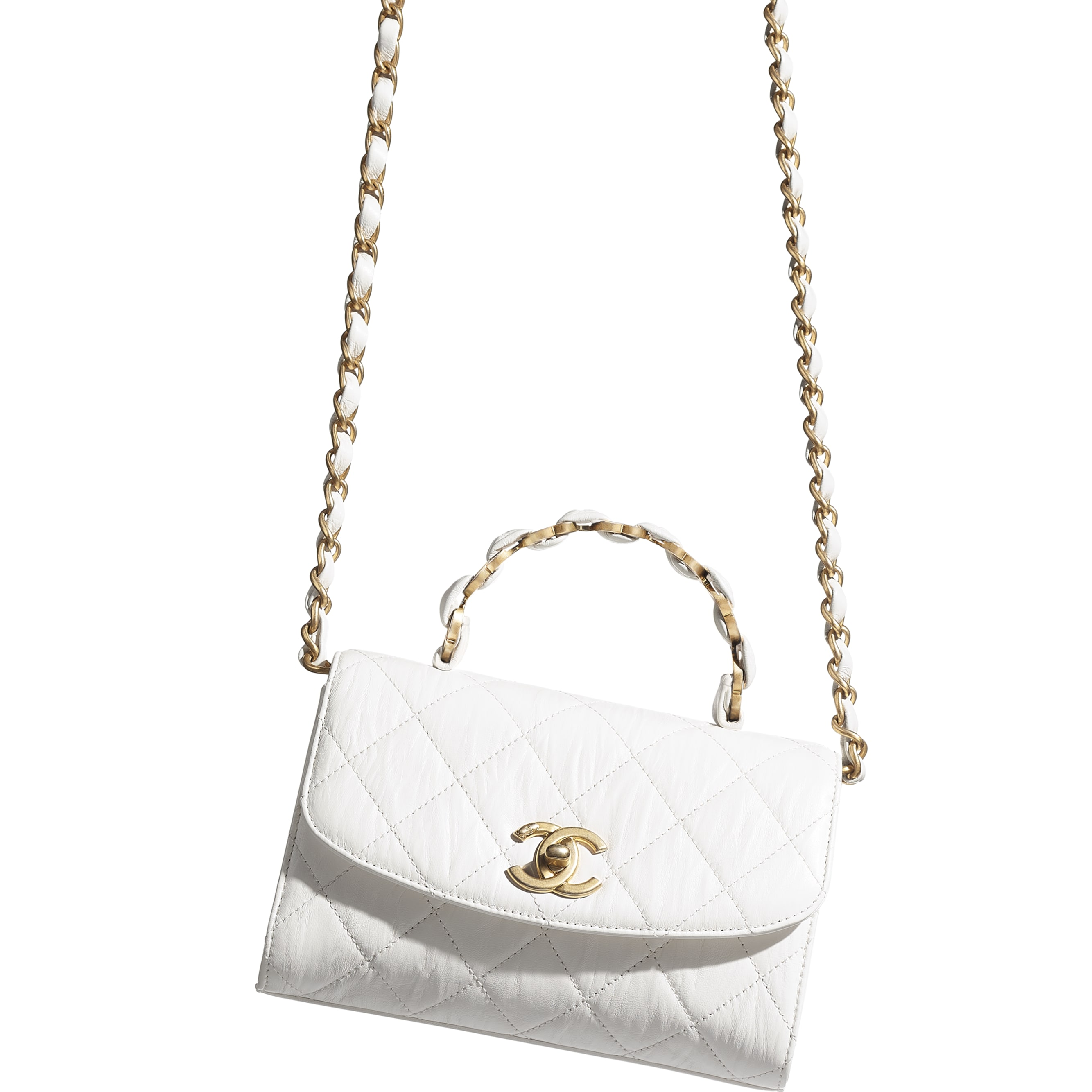 Mini Flap Bag with Top Handle - White - Crumpled Lambskin & Gold-Tone Metal - CHANEL - Other view - see standard sized version