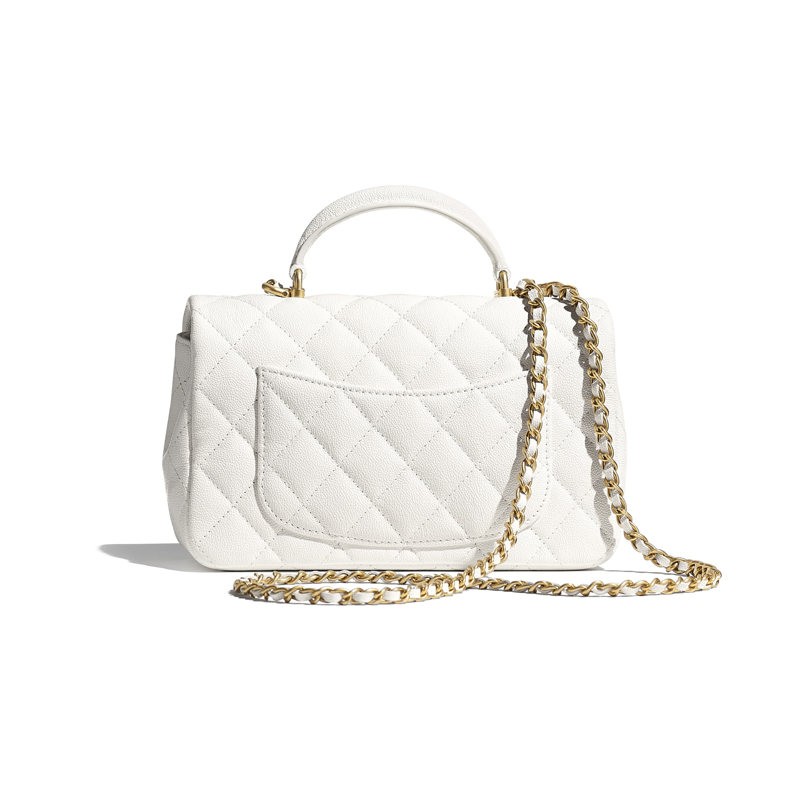 Mini Flap Bag with Top Handle - White - Grained Calfskin & Gold-Tone Metal - CHANEL - Alternative view - see standard sized version
