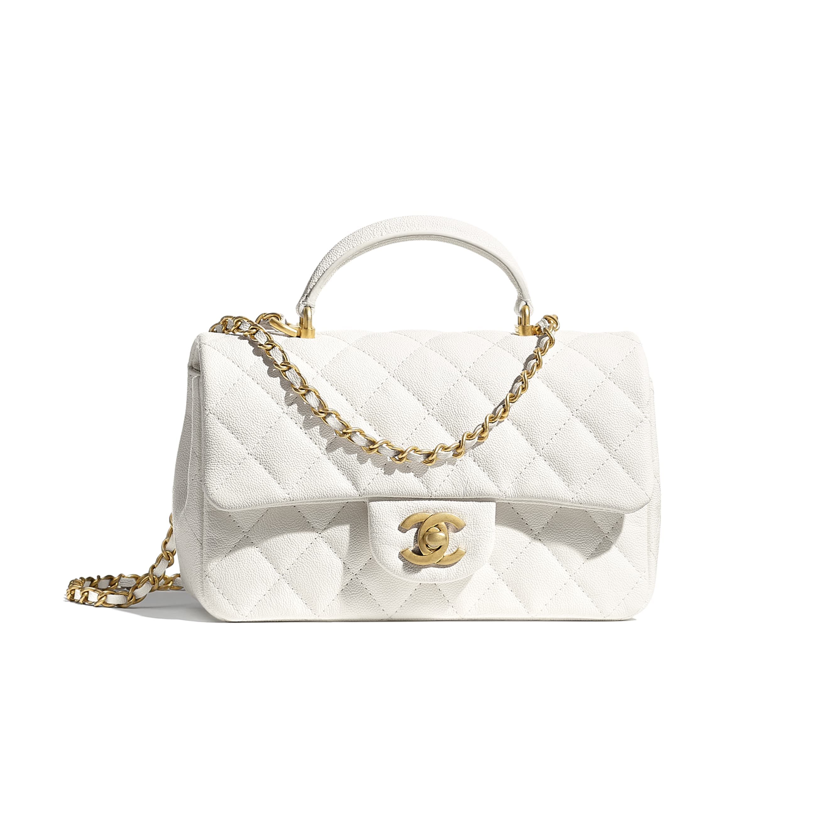 Mini Flap Bag with Top Handle - White - Grained Calfskin & Gold-Tone Metal - CHANEL - Default view - see standard sized version