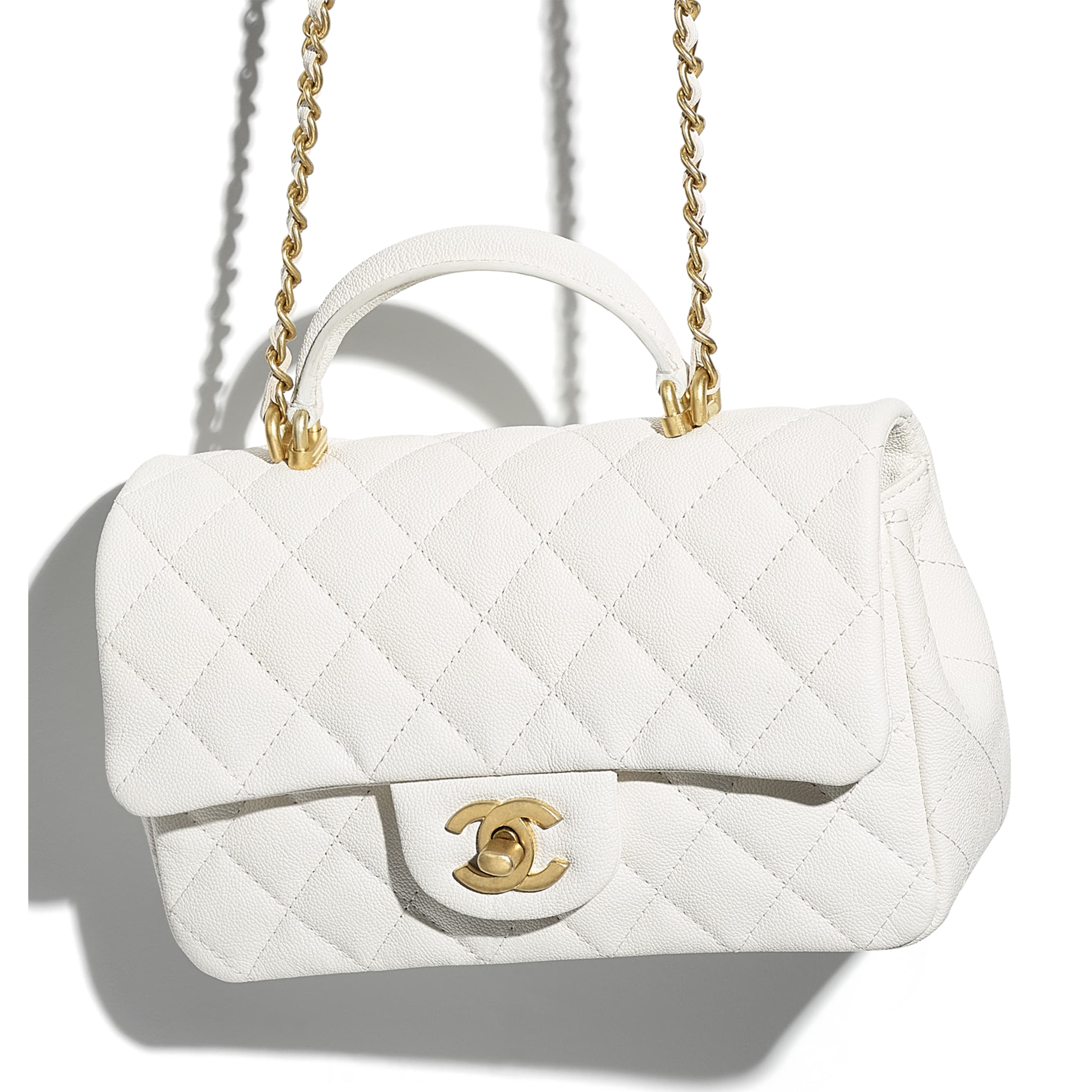 Mini Flap Bag with Top Handle - White - Grained Calfskin & Gold-Tone Metal - CHANEL - Extra view - see standard sized version