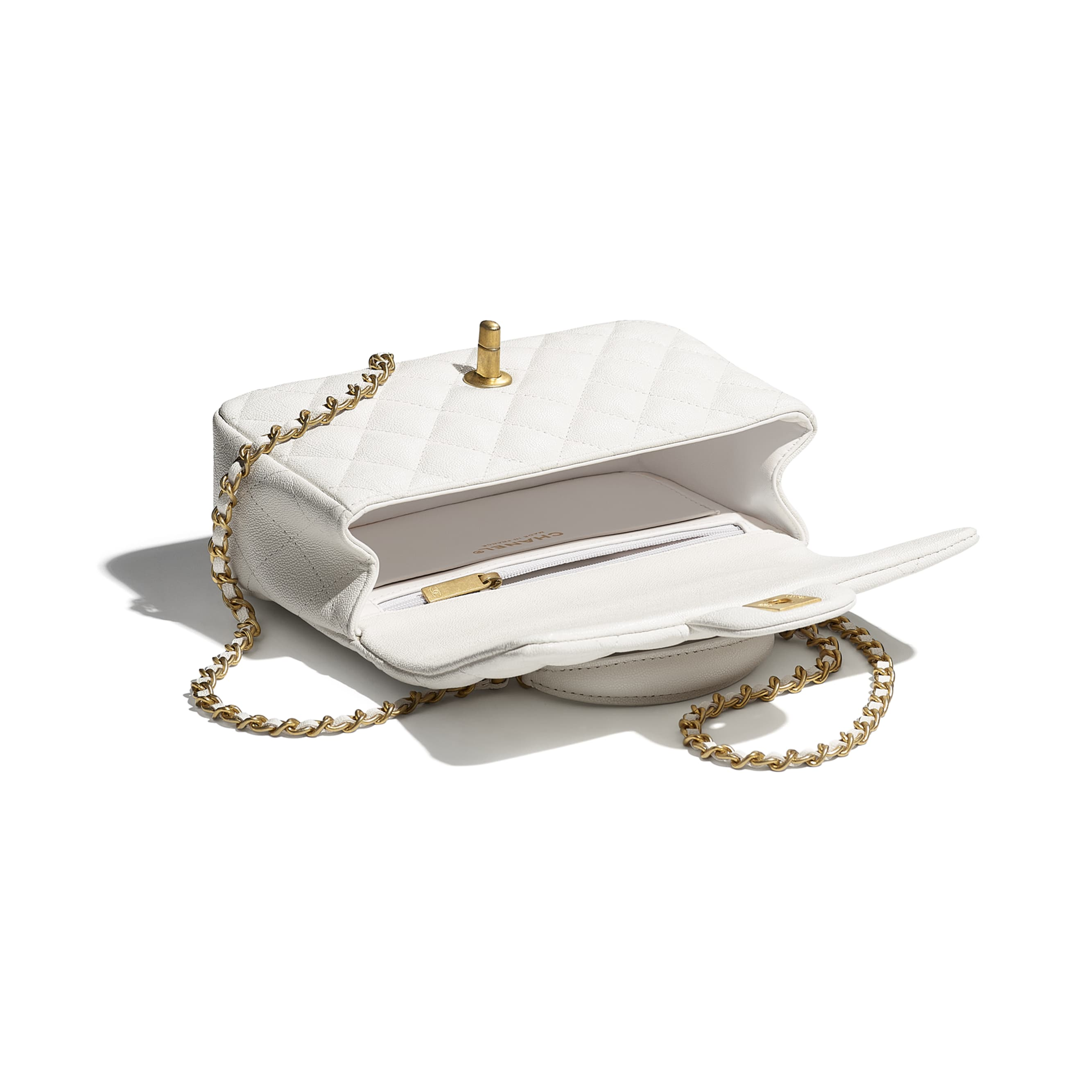 Mini Flap Bag with Top Handle - White - Grained Calfskin & Gold-Tone Metal - CHANEL - Other view - see standard sized version