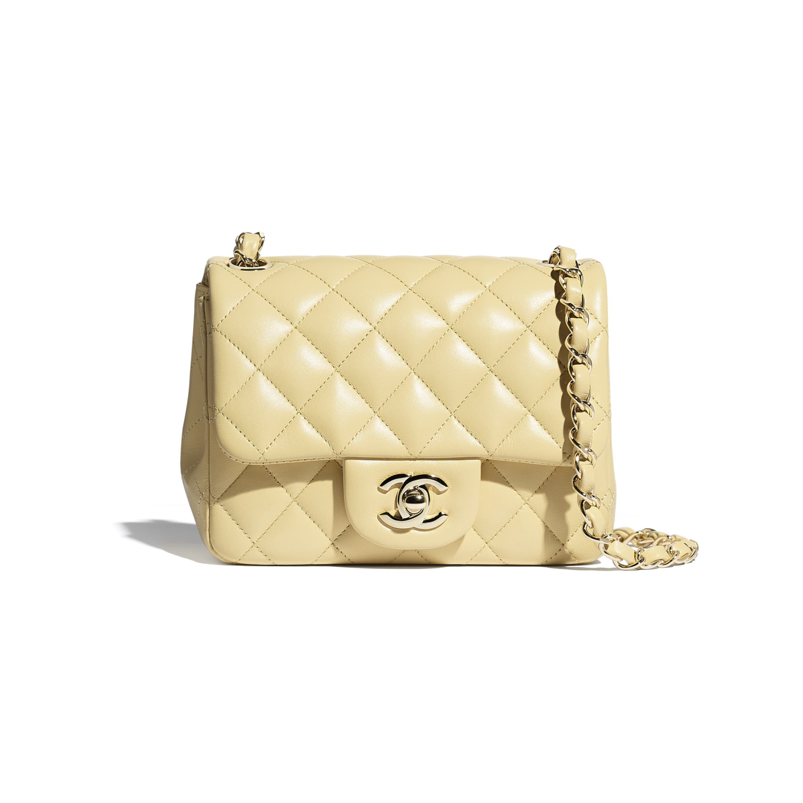 Mini Flap Bag - Yellow - Lambskin - CHANEL - Default view - see standard sized version