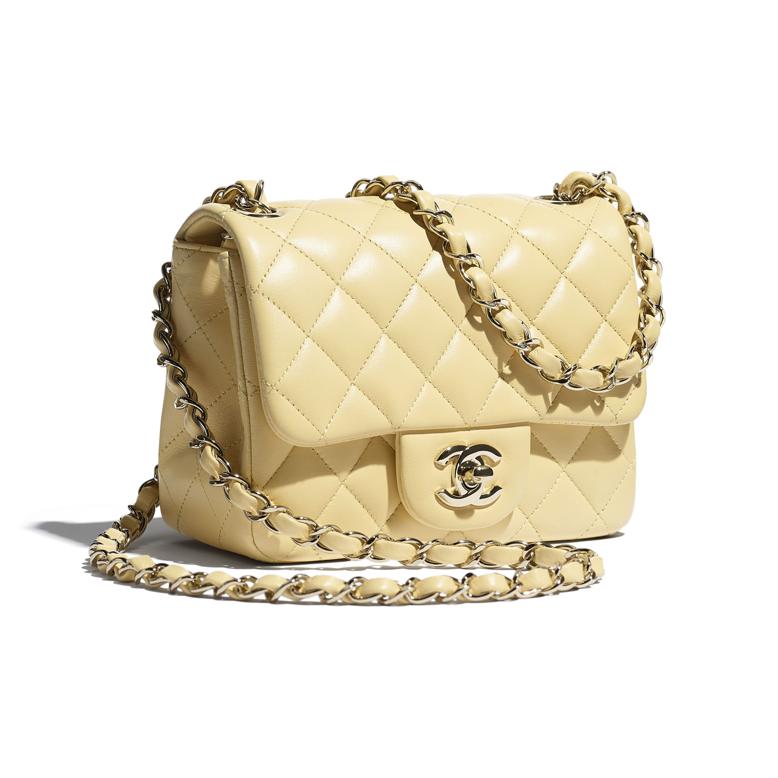 Mini Flap Bag - Yellow - Lambskin - CHANEL - Extra view - see standard sized version
