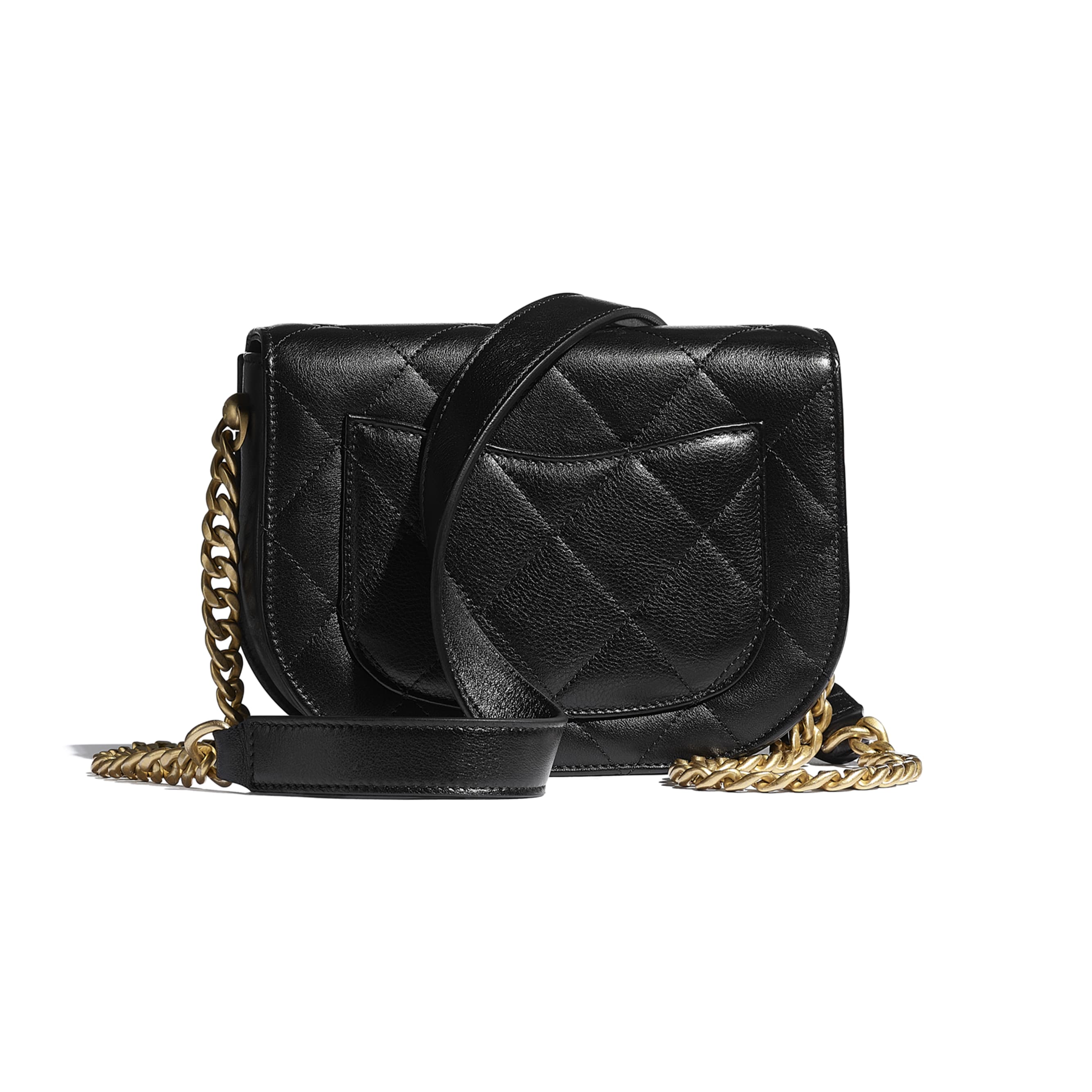 Mini Messenger Bag - Black - Calfskin & Gold-Tone Metal - CHANEL - Alternative view - see standard sized version