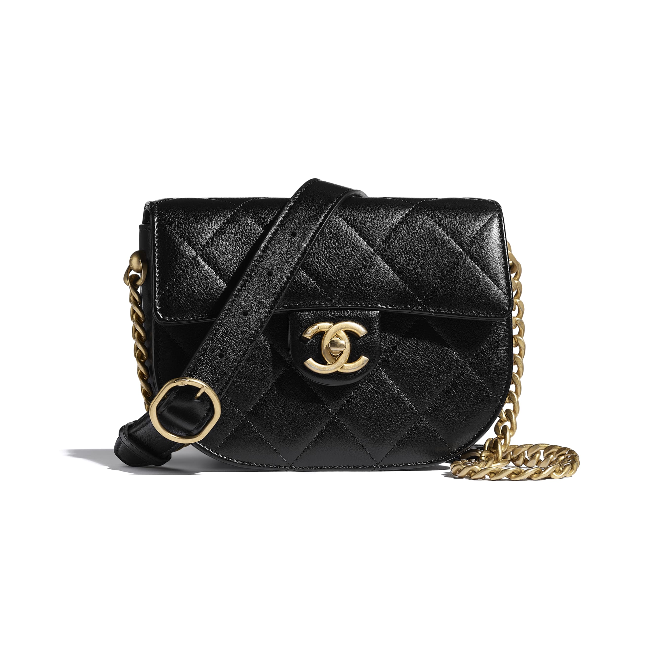 Mini Messenger Bag - Black - Calfskin & Gold-Tone Metal - CHANEL - Default view - see standard sized version