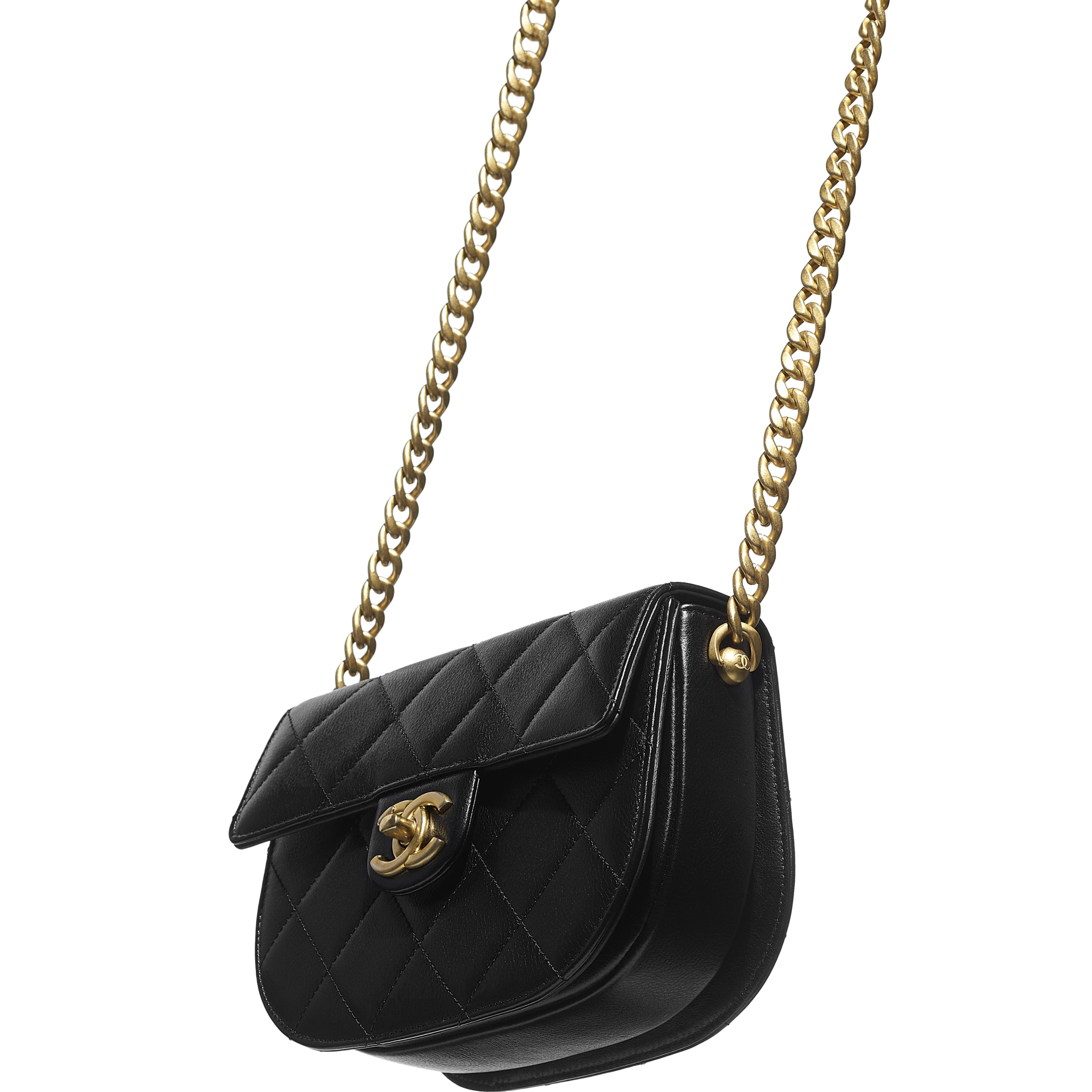 Mini Messenger Bag - Black - Calfskin & Gold-Tone Metal - CHANEL - Extra view - see standard sized version