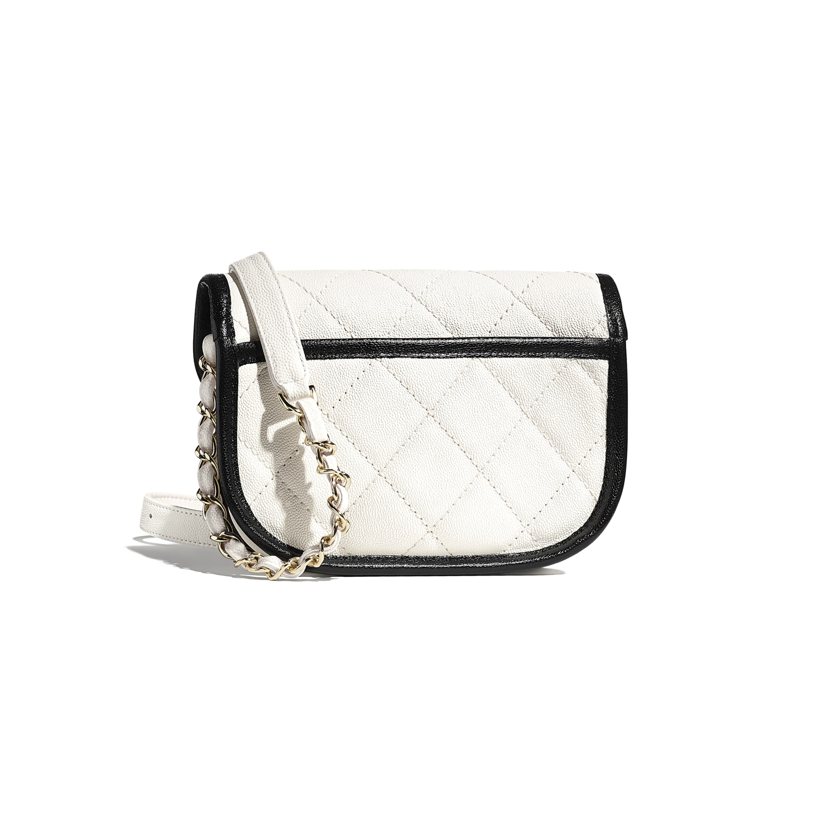 Mini Messenger Bag - White & Black - Grained Calfskin & Gold-Tone Metal - CHANEL - Alternative view - see standard sized version