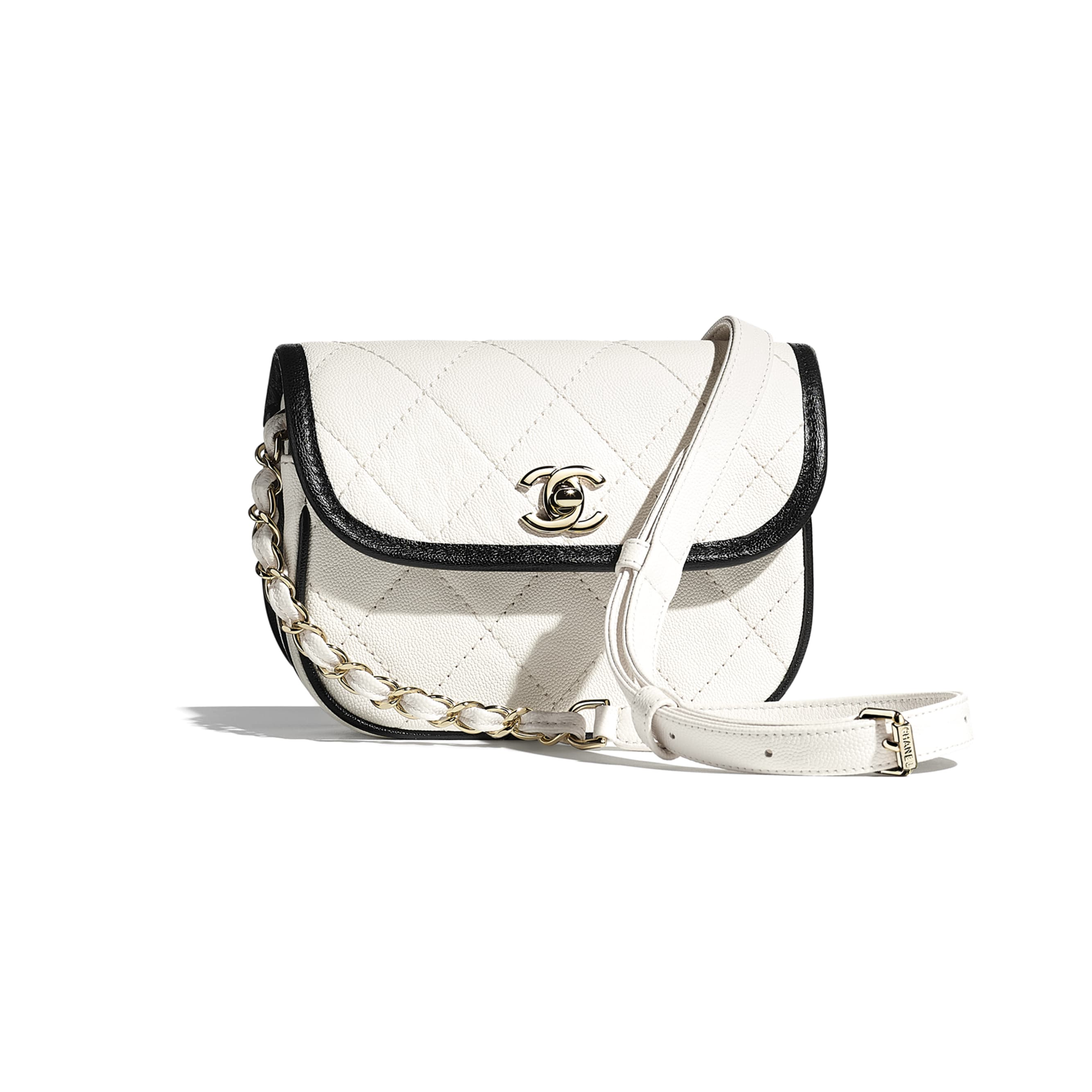 Mini Messenger Bag - White & Black - Grained Calfskin & Gold-Tone Metal - CHANEL - Default view - see standard sized version