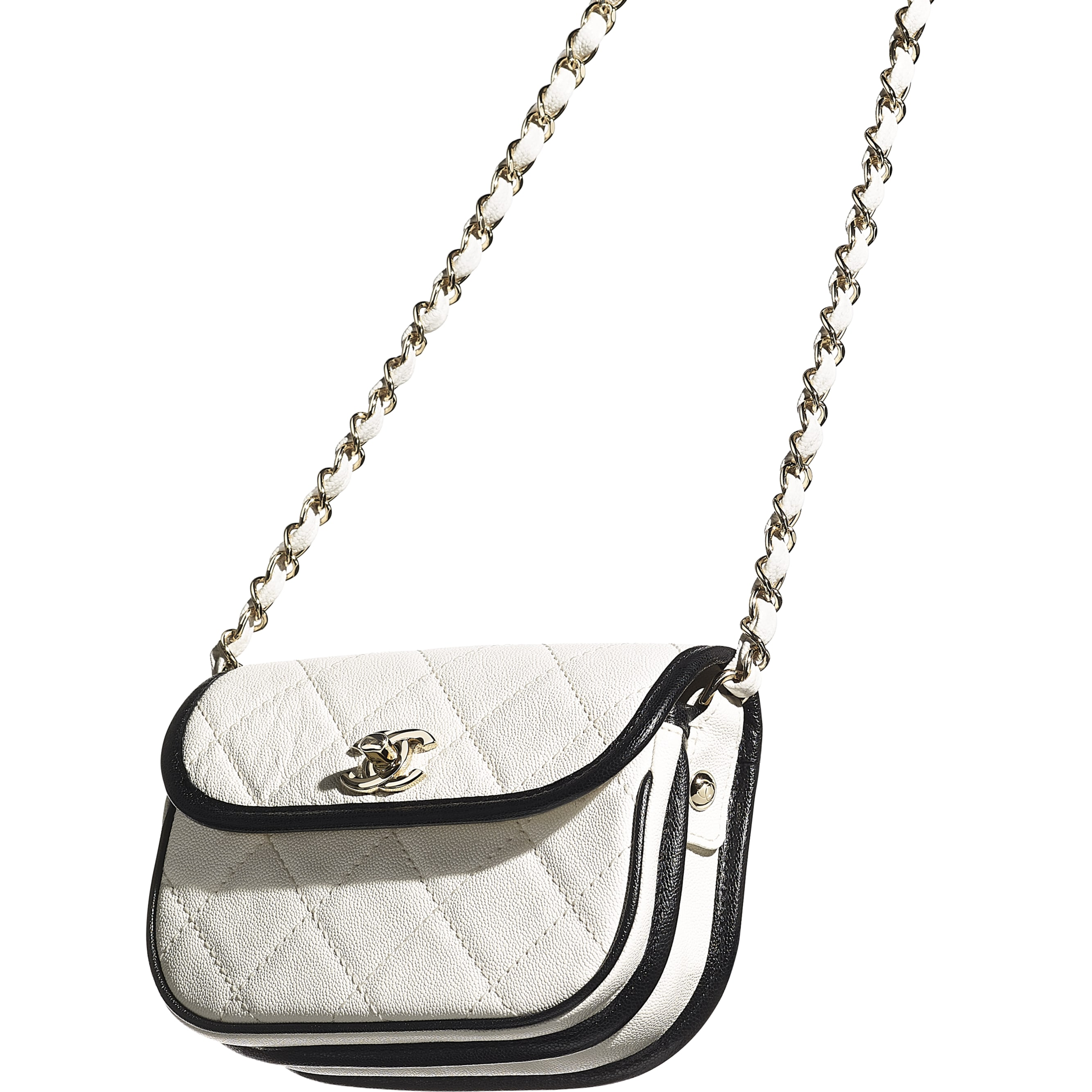 Mini Messenger Bag - White & Black - Grained Calfskin & Gold-Tone Metal - CHANEL - Extra view - see standard sized version