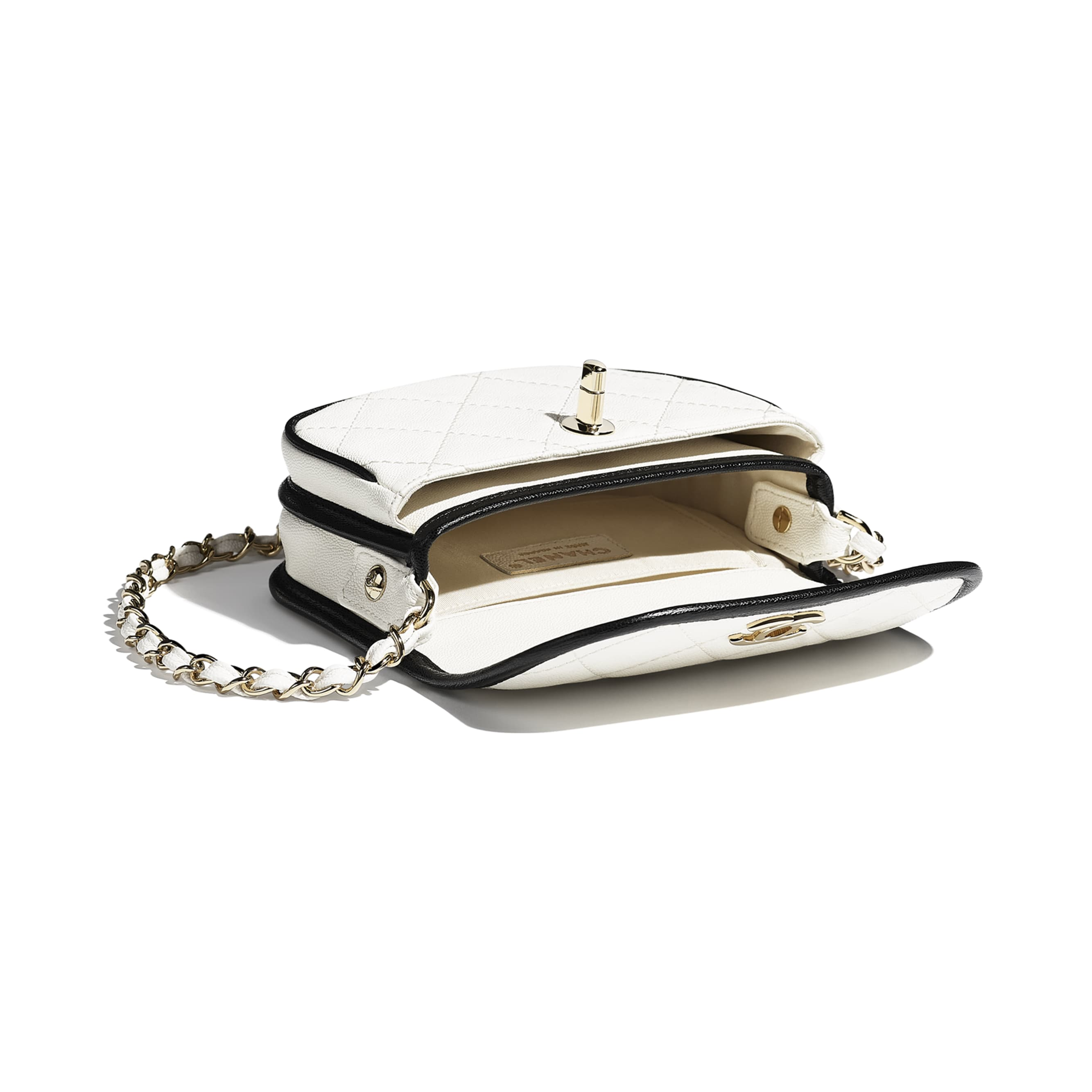Mini Messenger Bag - White & Black - Grained Calfskin & Gold-Tone Metal - CHANEL - Other view - see standard sized version