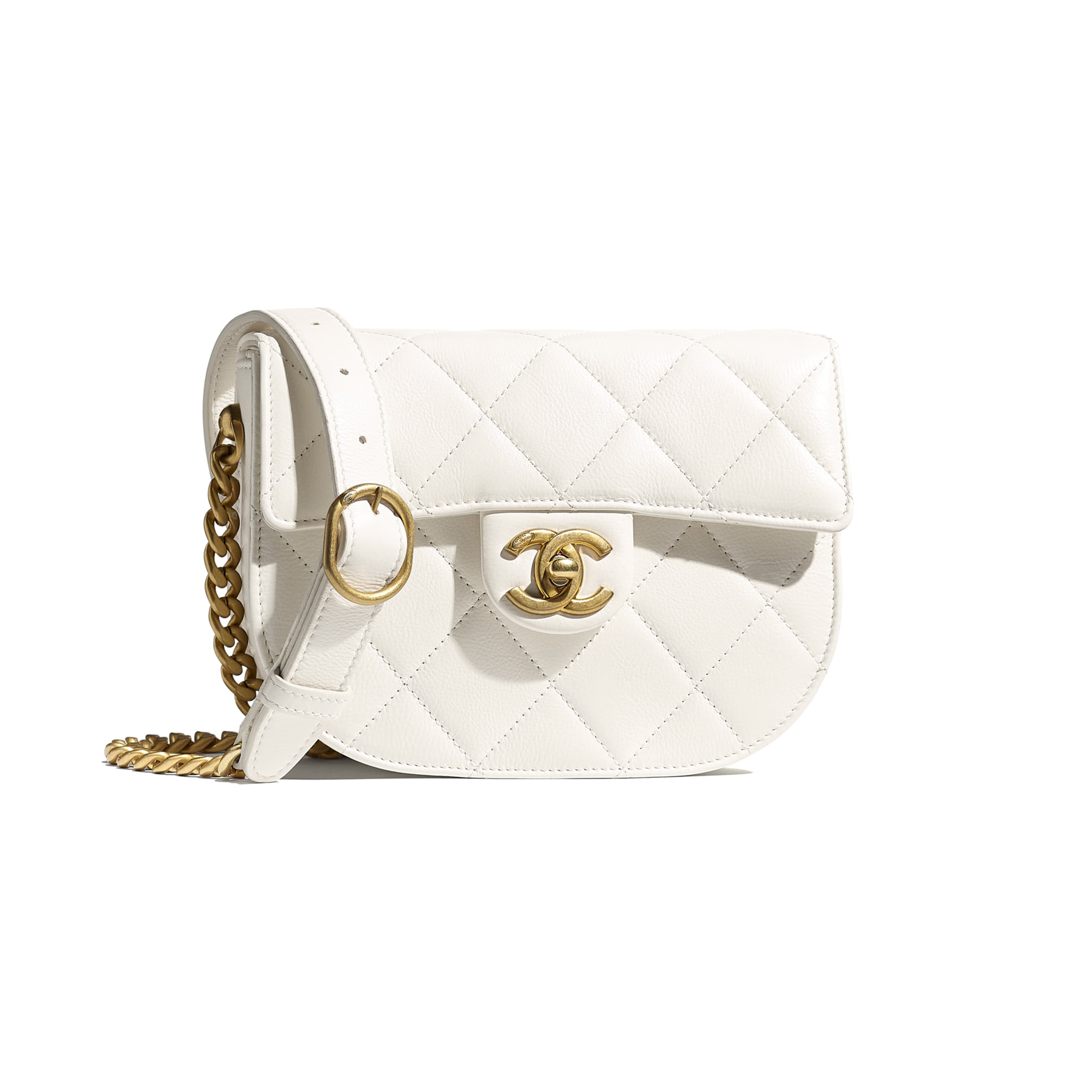 Mini Messenger Bag - White - Calfskin & Gold-Tone Metal - CHANEL - Default view - see standard sized version