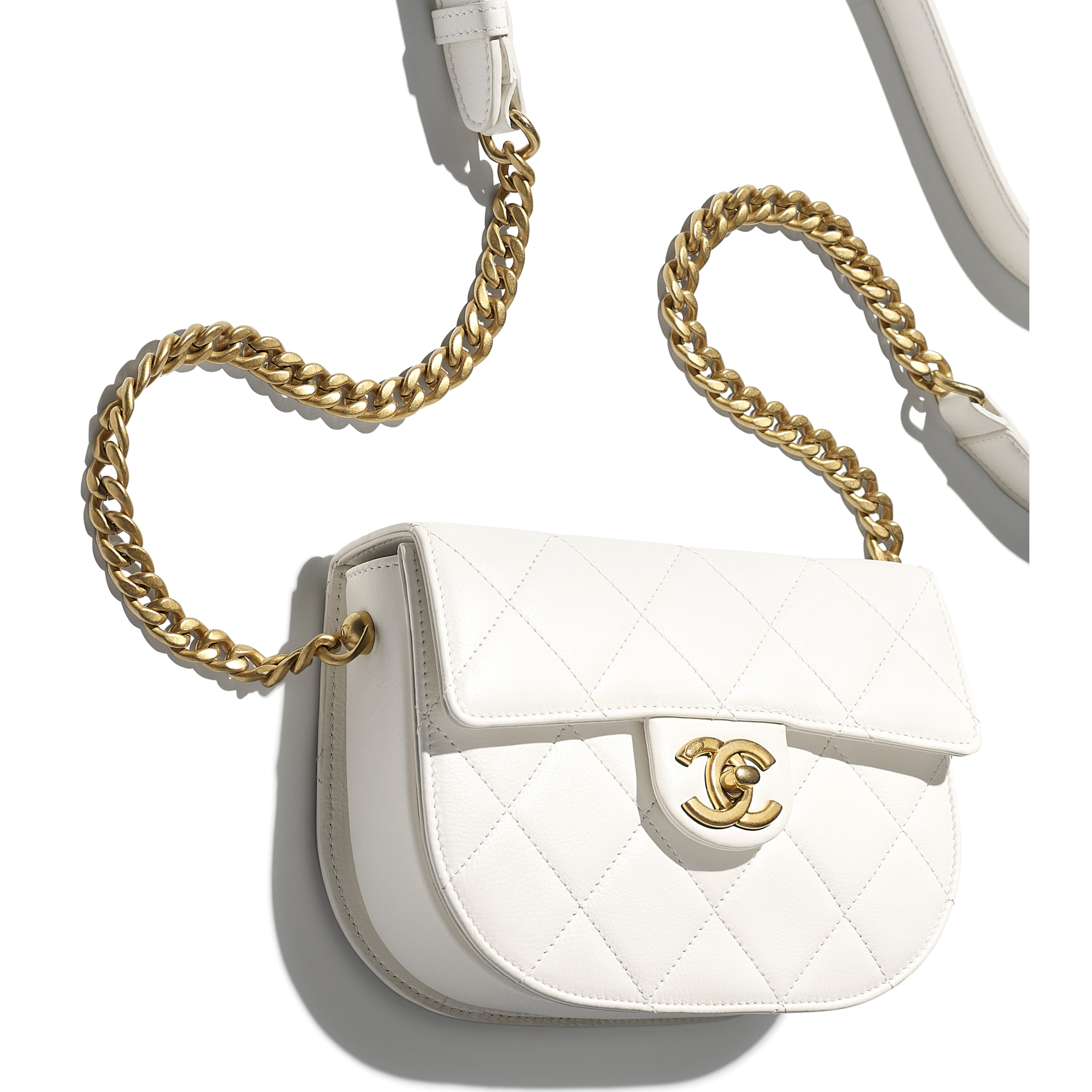 Mini Messenger Bag - White - Calfskin & Gold-Tone Metal - CHANEL - Extra view - see standard sized version