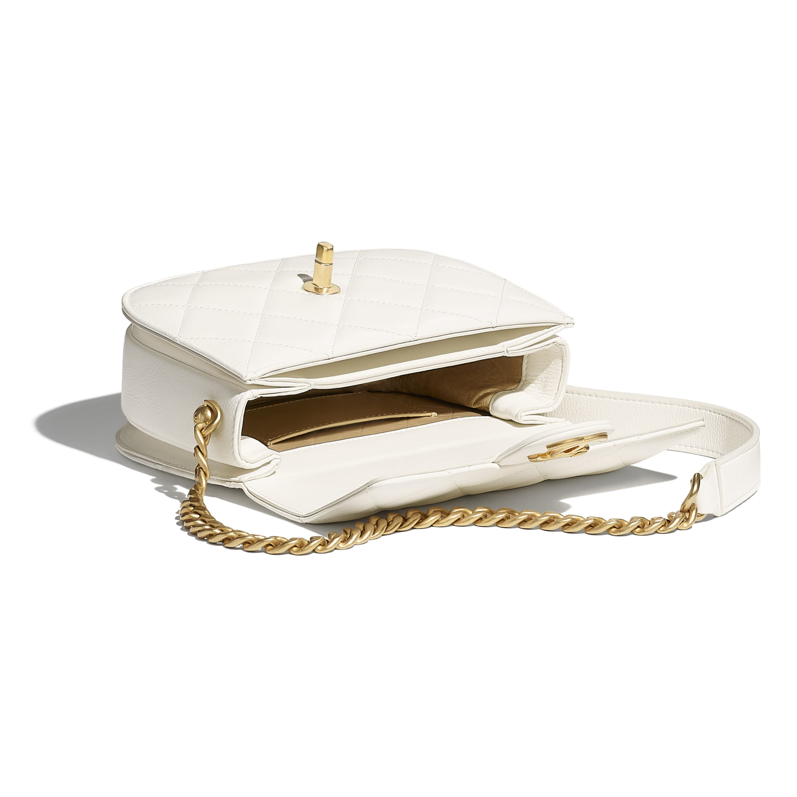 Mini Messenger Bag - White - Calfskin & Gold-Tone Metal - CHANEL - Other view - see standard sized version