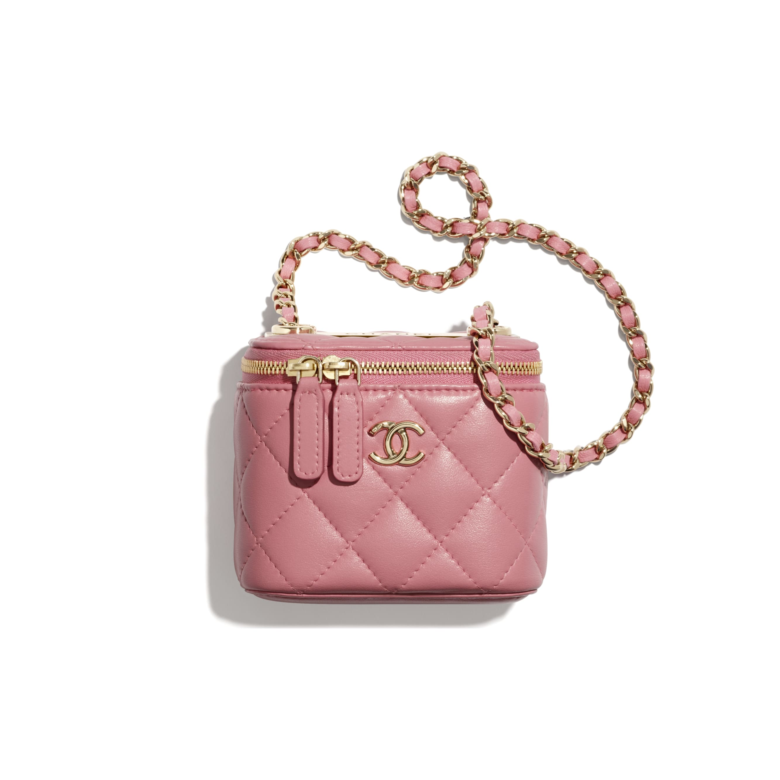 Mini Vanity with Chain - Pale Pink - Lambskin - CHANEL - Default view - see standard sized version