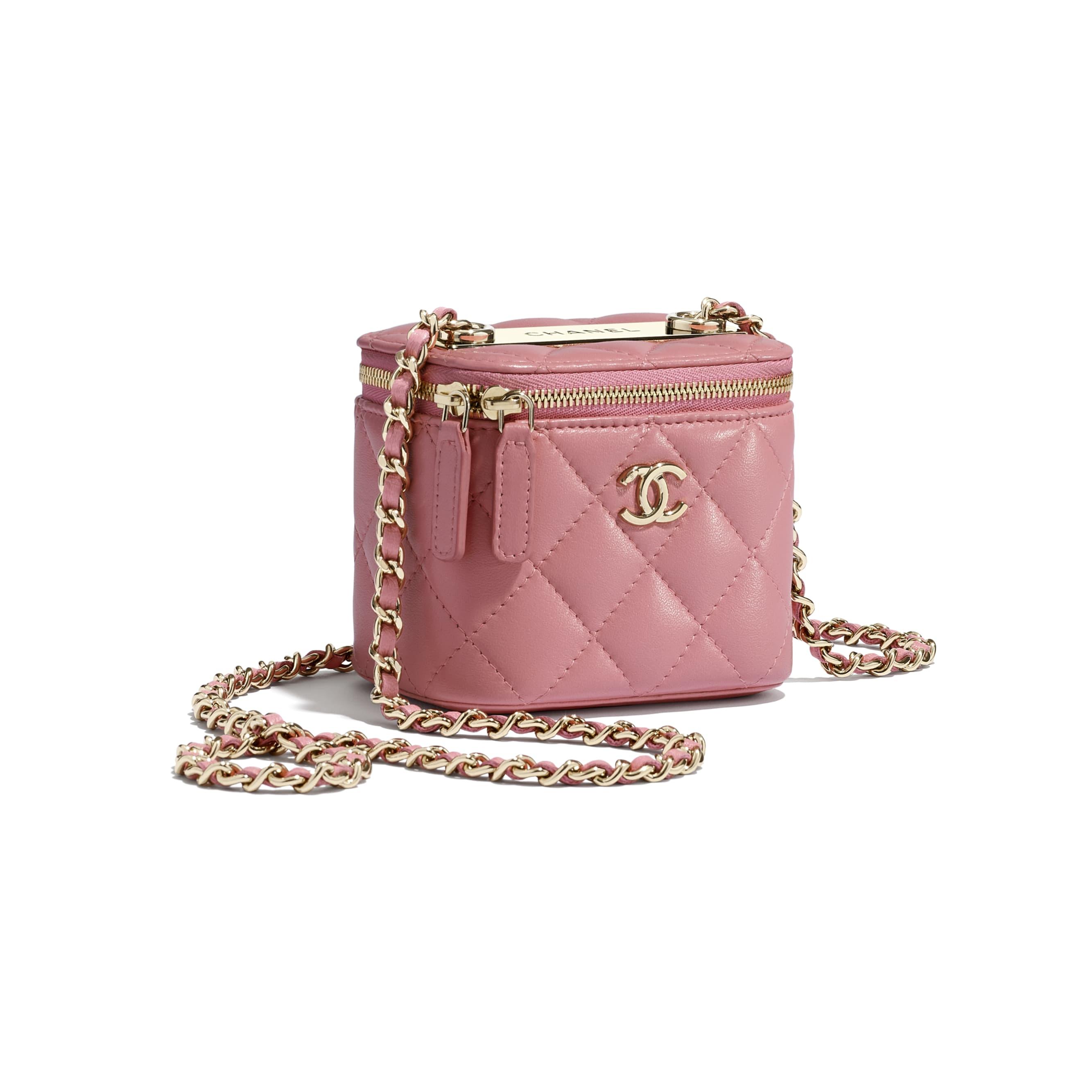 Mini necessaire com corrente - Pale Pink - Lambskin & Gold-Tone Metal - CHANEL - Vista extra - ver a versão em tamanho standard