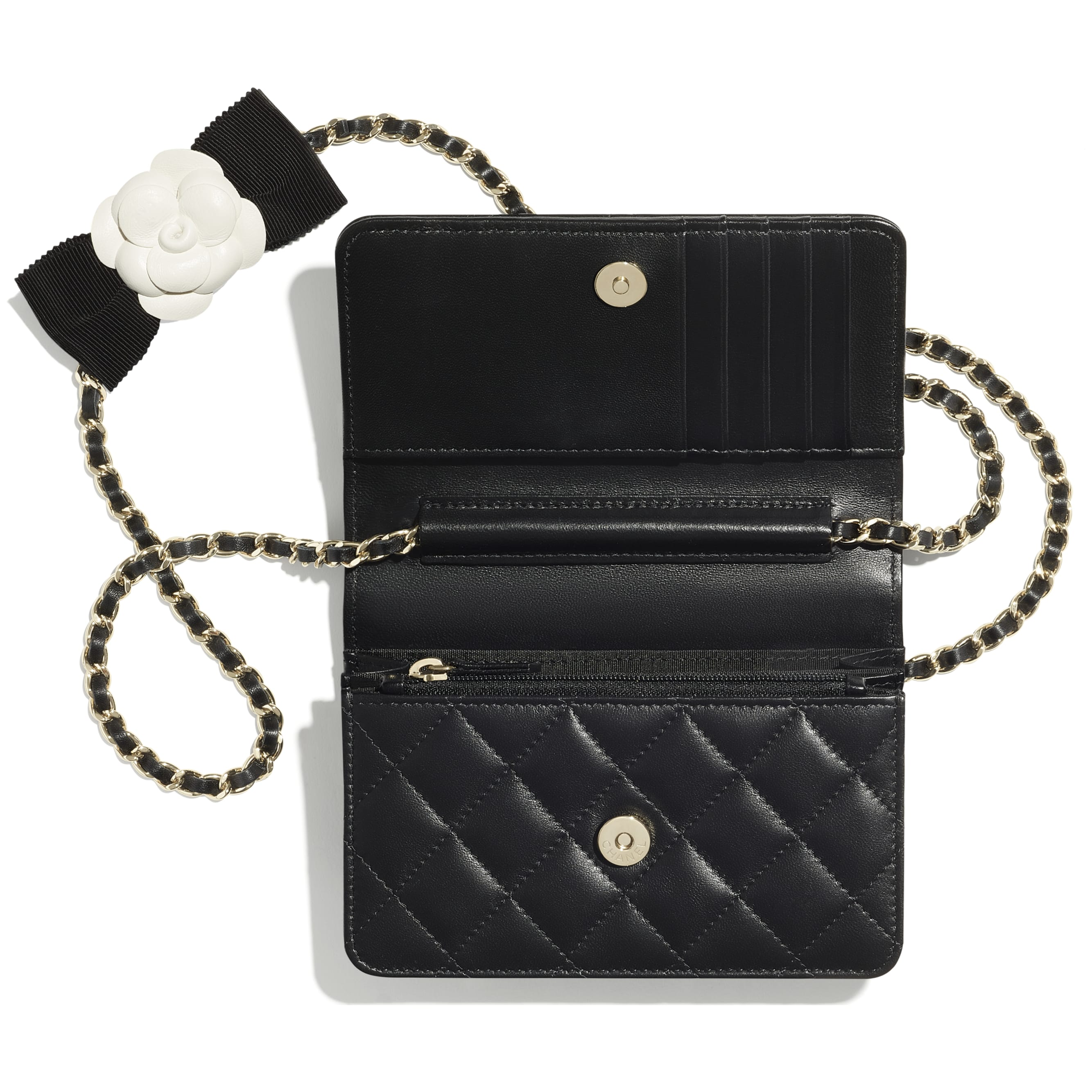 Mini Wallet on Chain - Black - Lambskin - CHANEL - Alternative view - see standard sized version