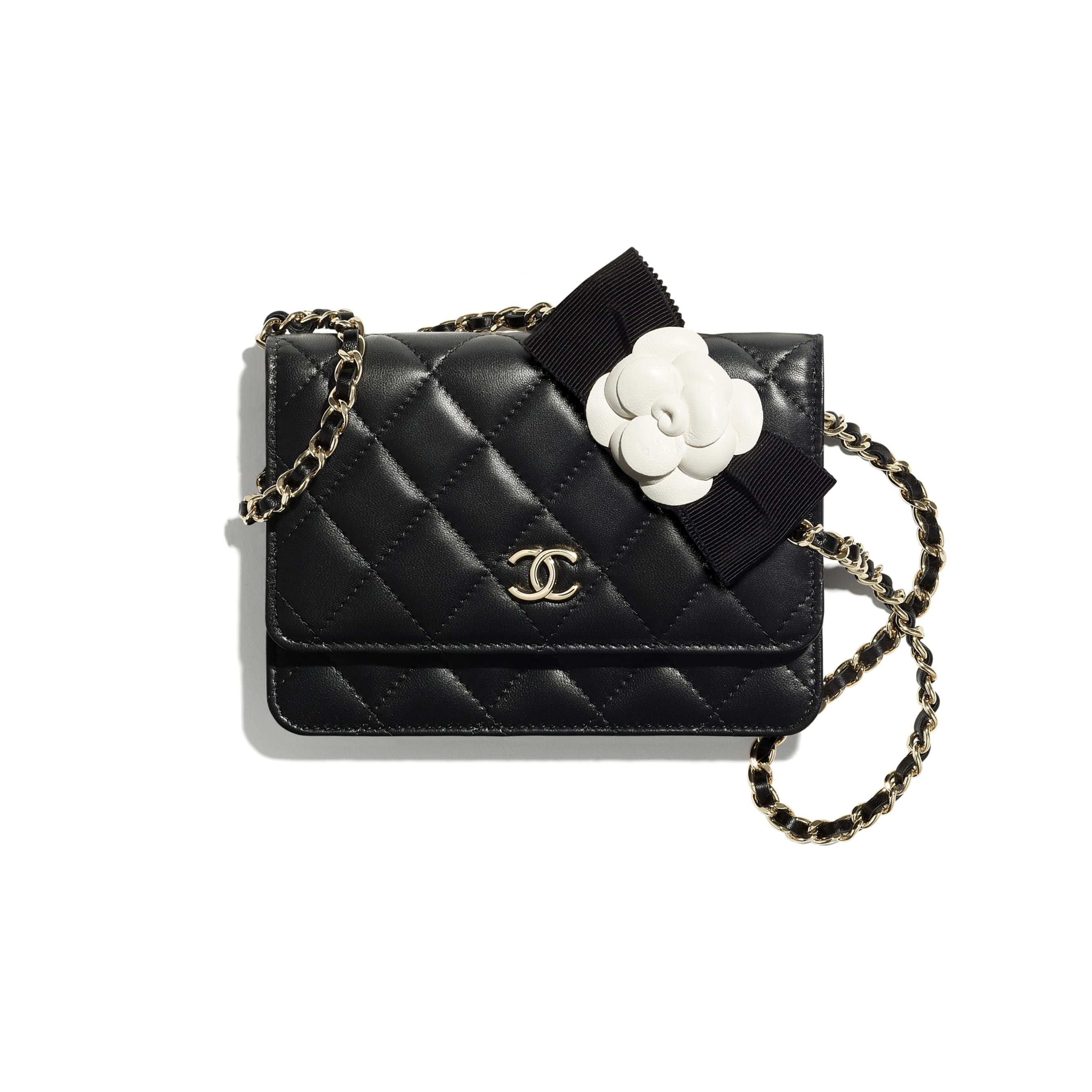 Mini Wallet on Chain - Black - Lambskin - CHANEL - Default view - see standard sized version