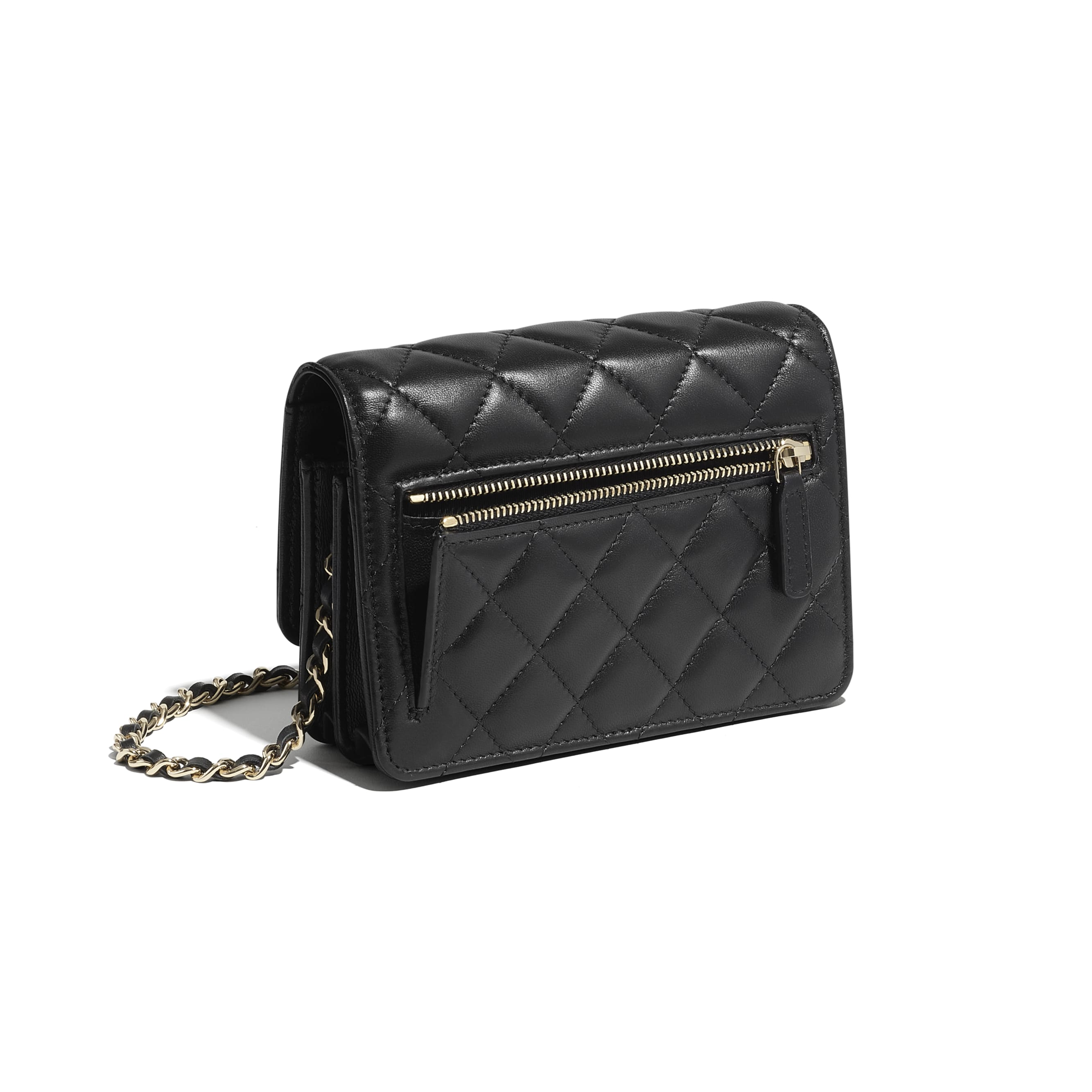 Mini Wallet on Chain - Black - Lambskin - CHANEL - Extra view - see standard sized version