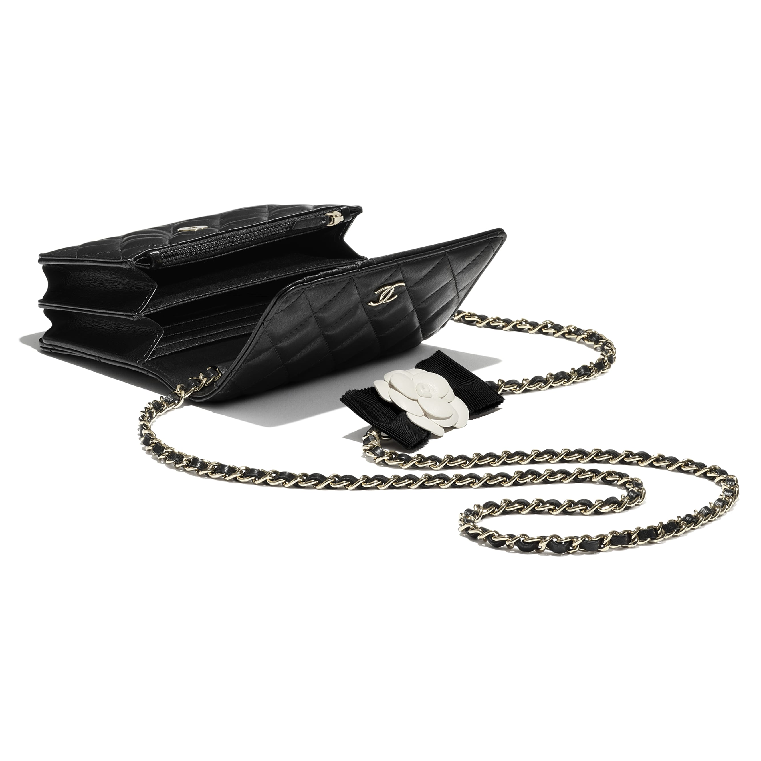 Mini Wallet on Chain - Black - Lambskin - CHANEL - Other view - see standard sized version