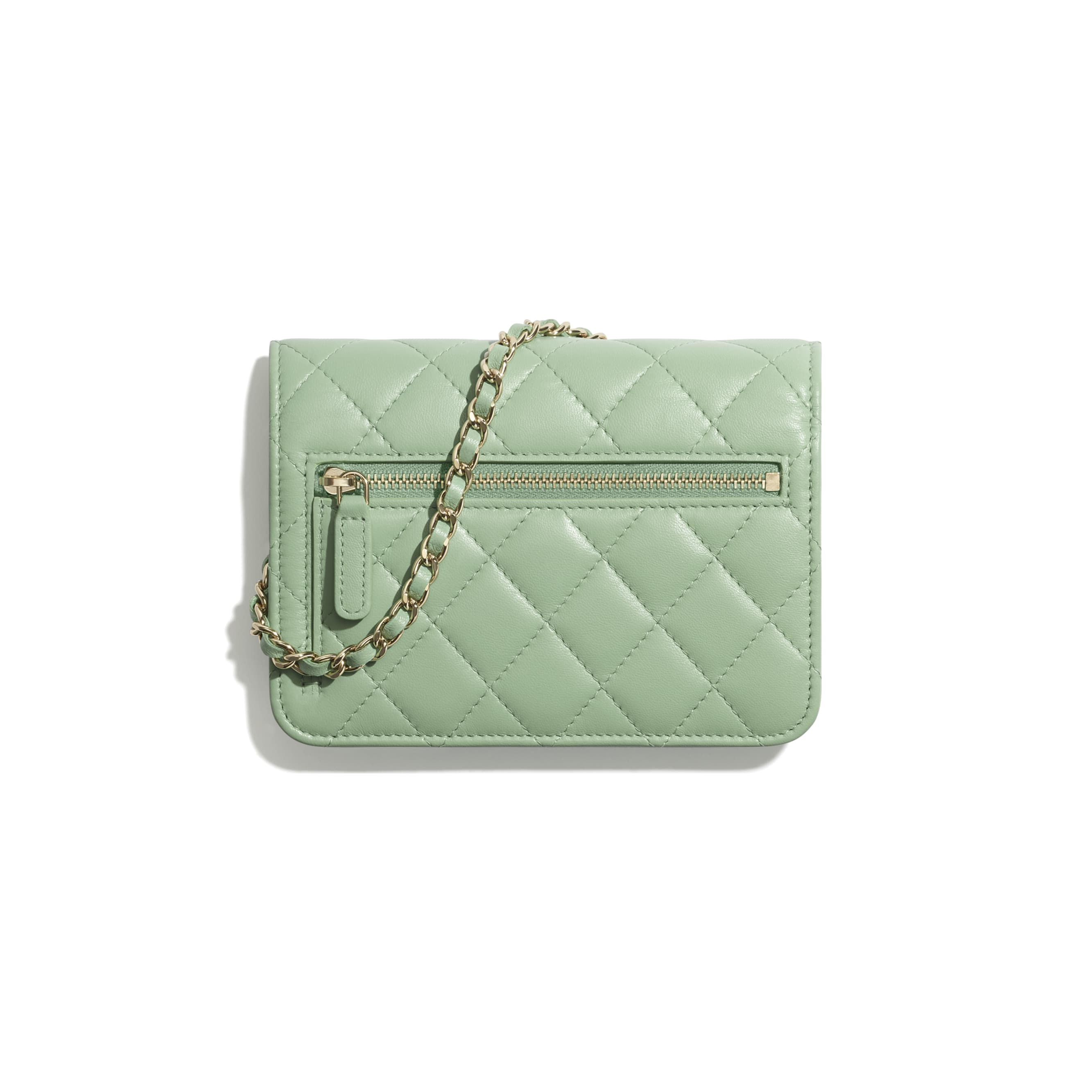 Mini Wallet on Chain - Green - Lambskin - CHANEL - Alternative view - see standard sized version