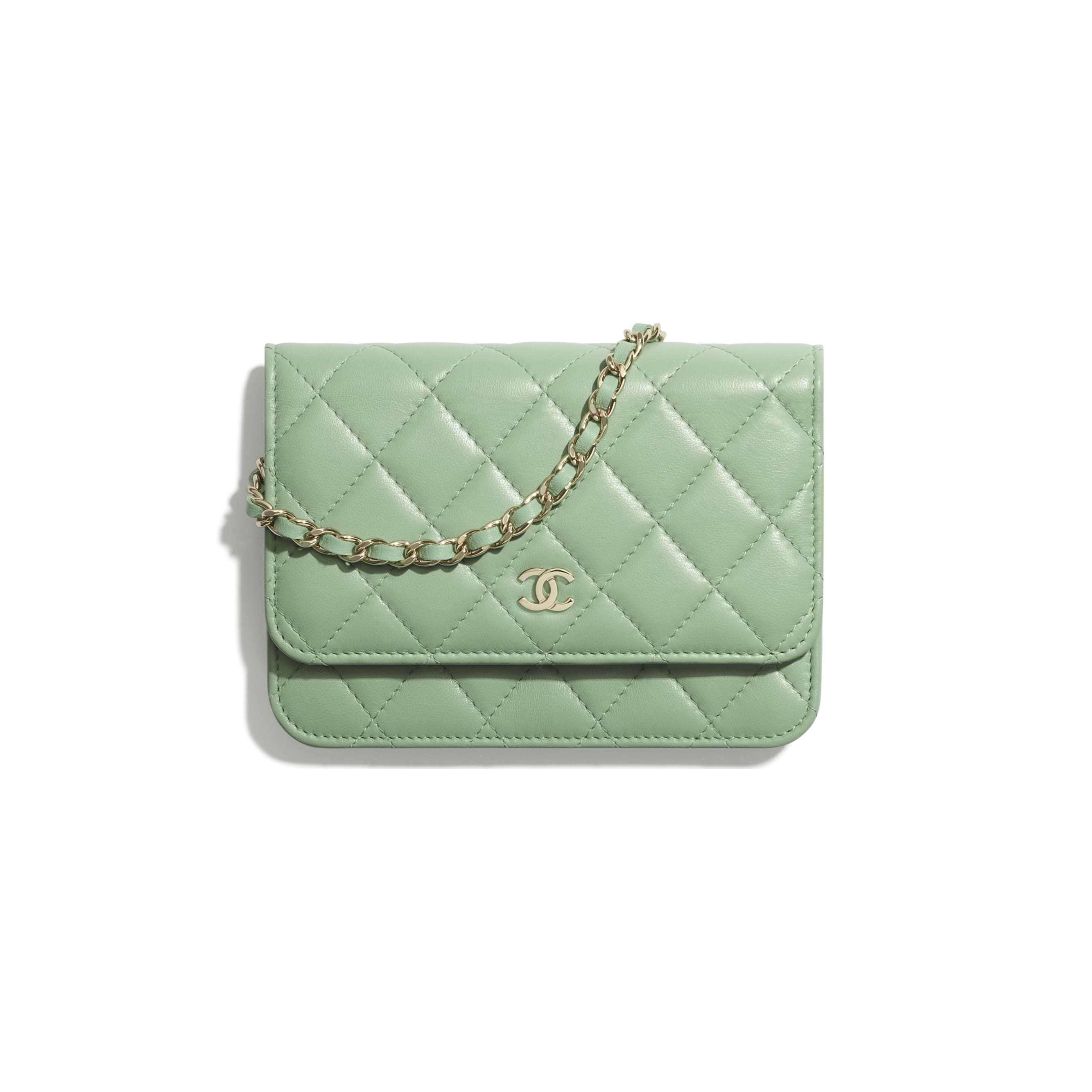 Mini Wallet on Chain - Green - Lambskin - CHANEL - Default view - see standard sized version