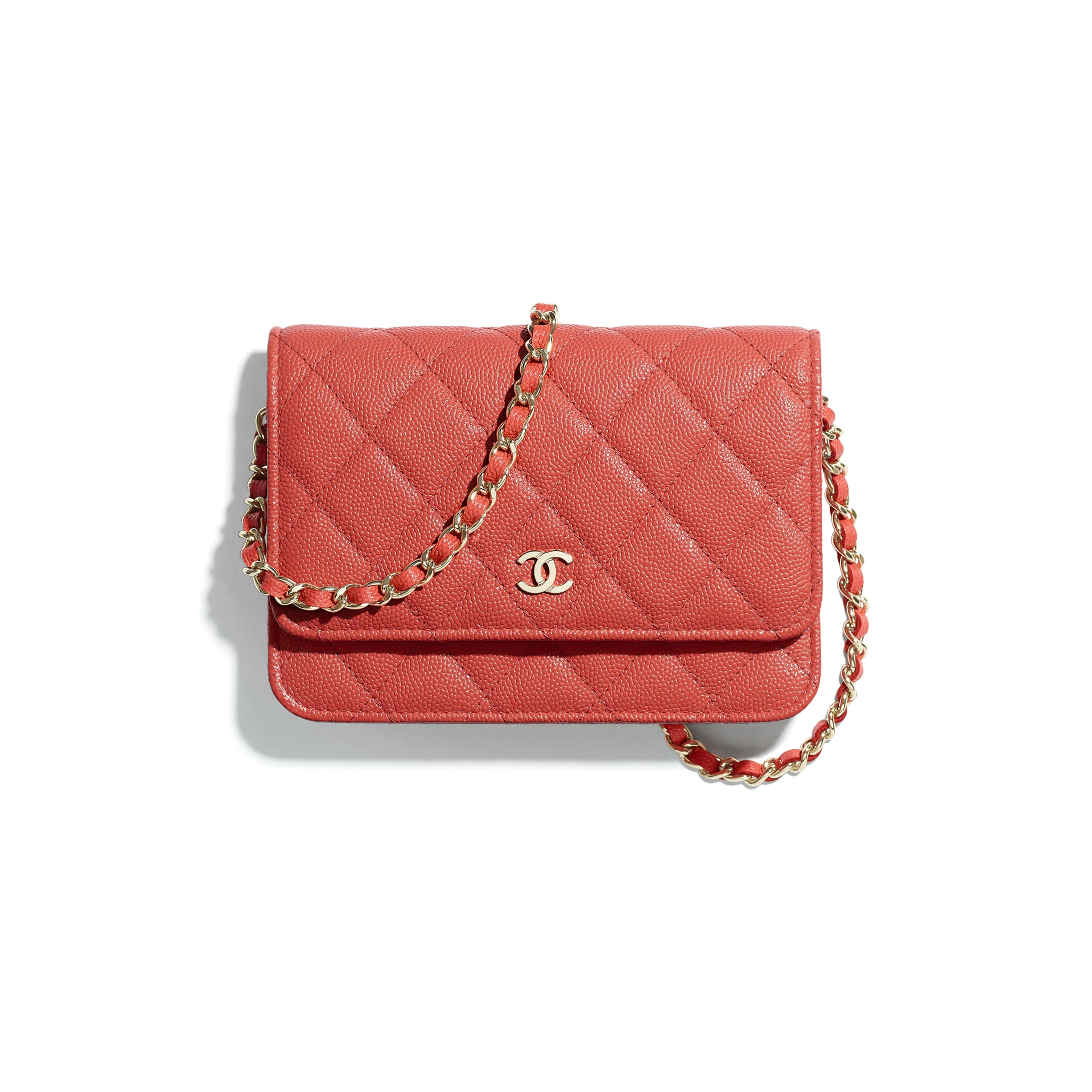 Mini Wallet on Chain - Red - Grained Calfskin & Gold-Tone Metal - CHANEL - Default view - see standard sized version