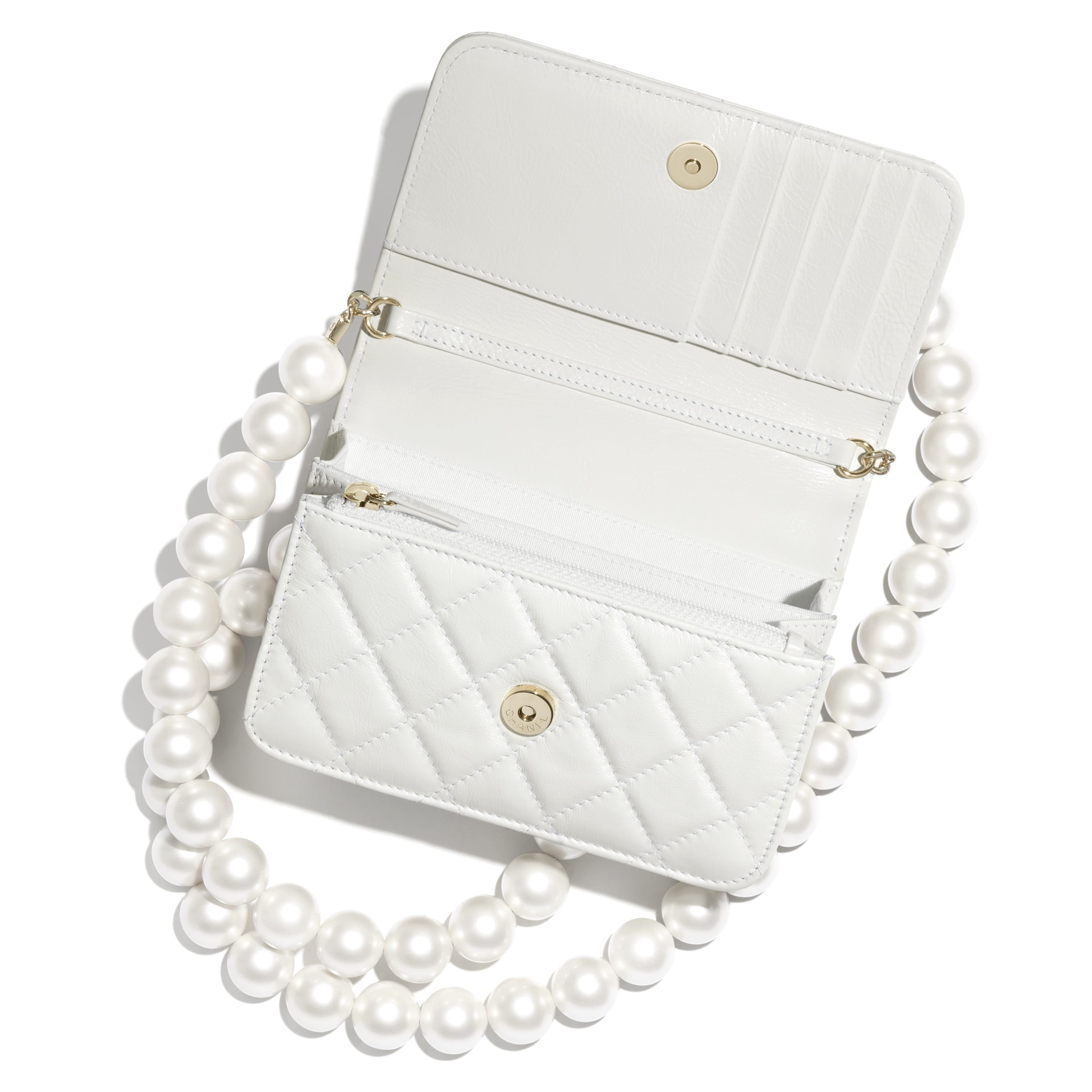 Mini Wallet on Chain - White - Calfskin, Imitation Pearls & Gold-Tone Metal - CHANEL - Alternative view - see standard sized version