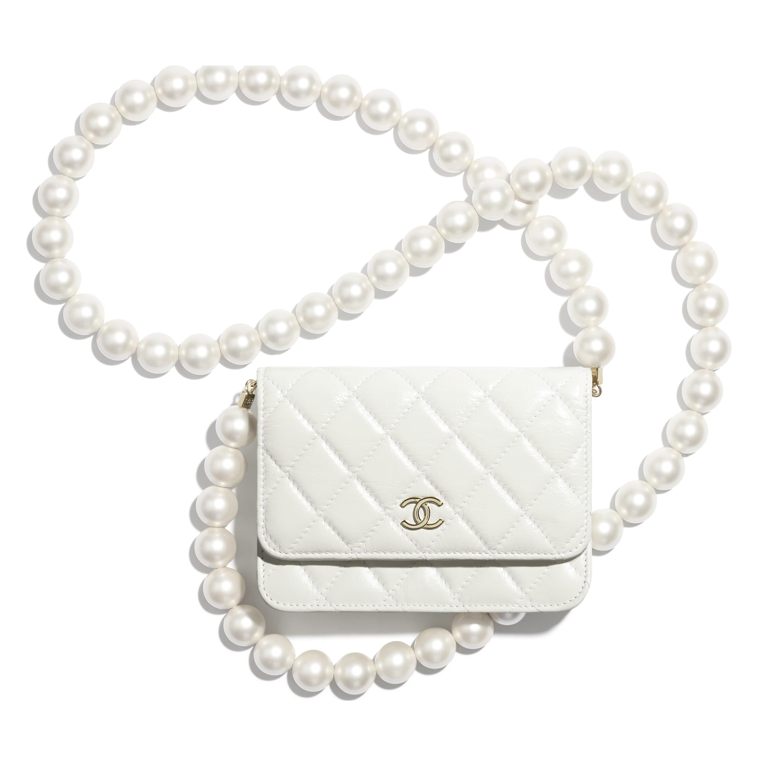 Mini Wallet on Chain - White - Calfskin, Imitation Pearls & Gold-Tone Metal - CHANEL - Default view - see standard sized version