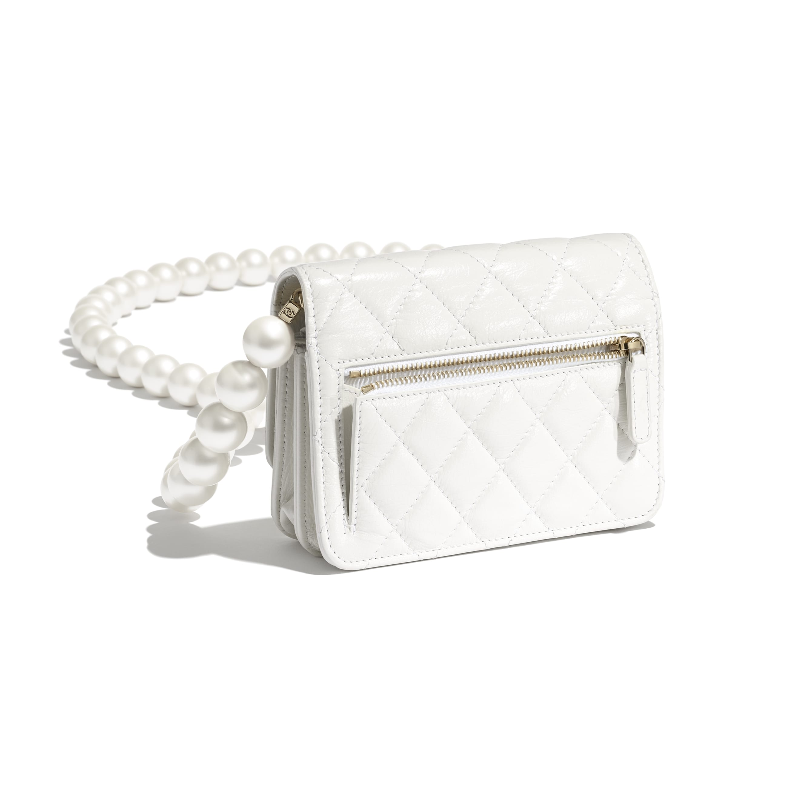 Mini Wallet on Chain - White - Calfskin, Imitation Pearls & Gold-Tone Metal - CHANEL - Extra view - see standard sized version