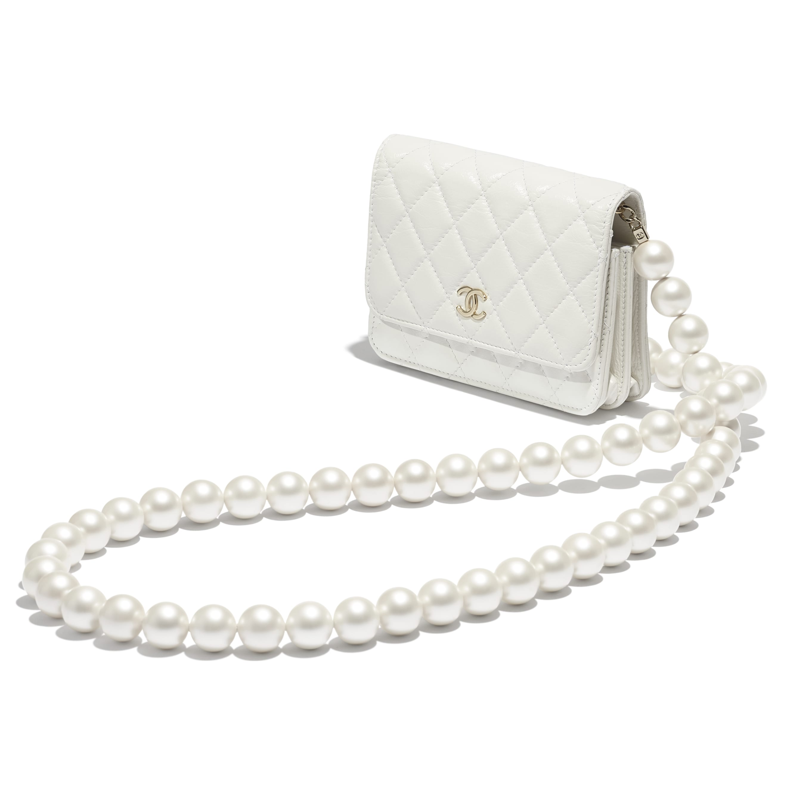 Mini Wallet on Chain - White - Calfskin, Imitation Pearls & Gold-Tone Metal - CHANEL - Other view - see standard sized version
