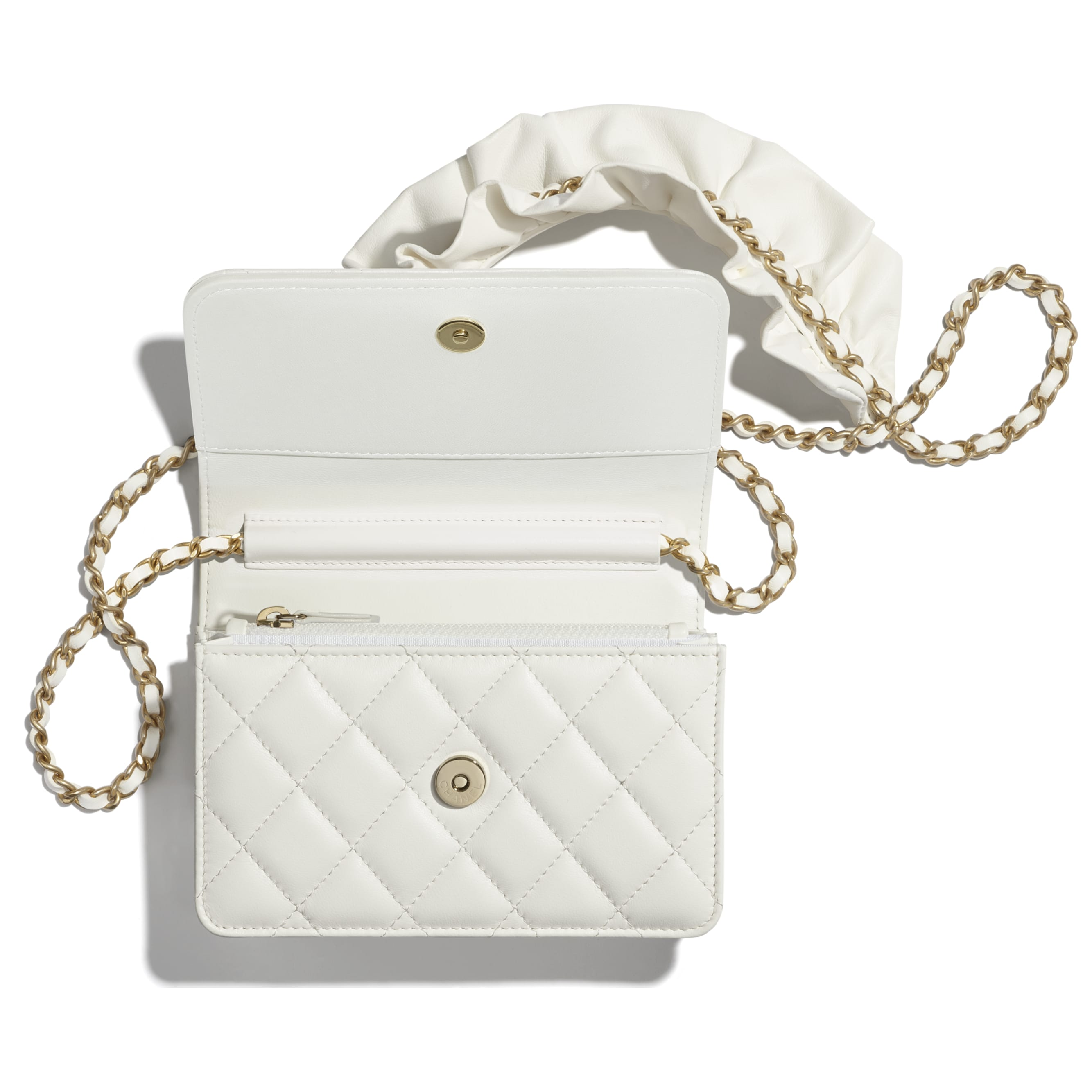 Mini Wallet on Chain - White - Lambskin - CHANEL - Alternative view - see standard sized version