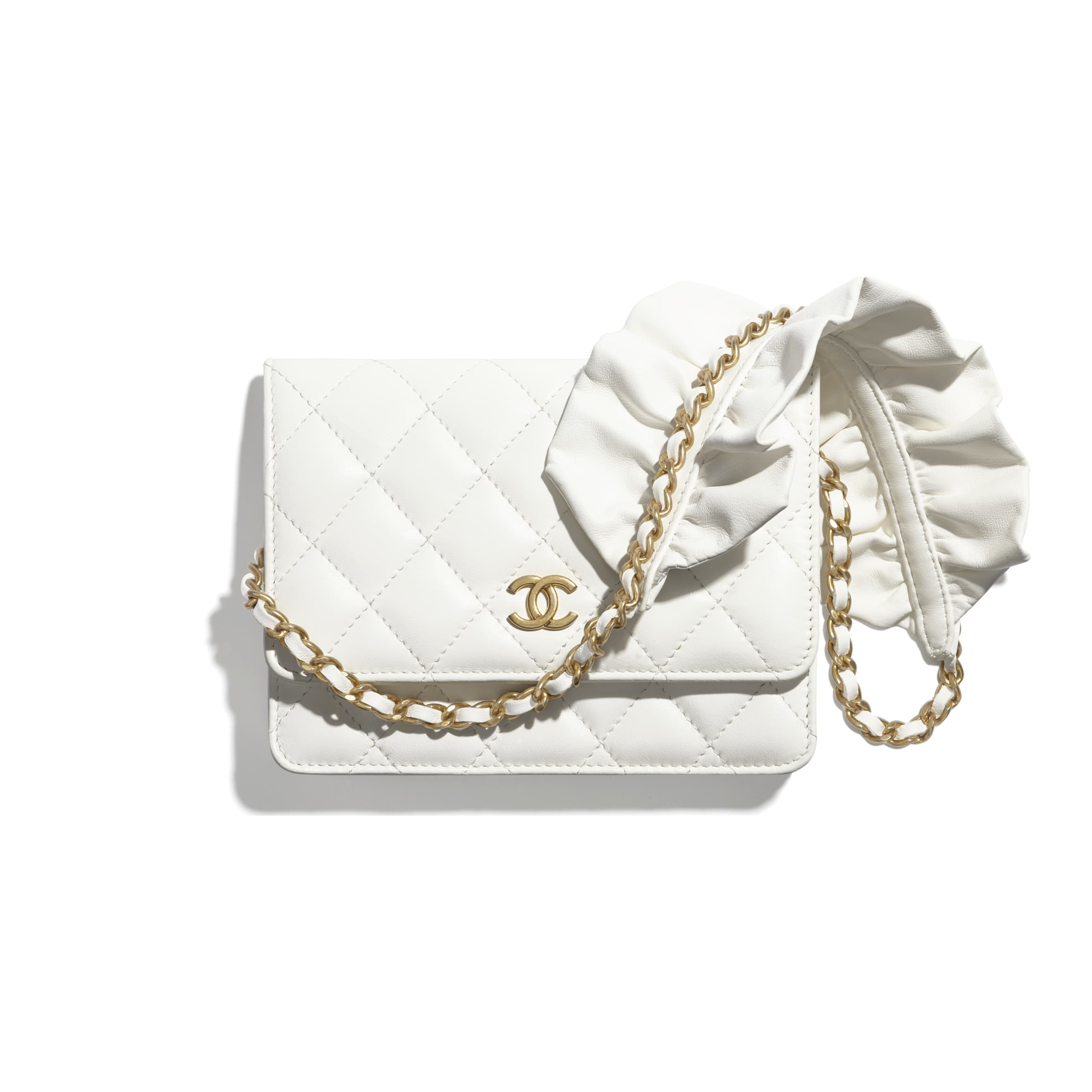 Mini Wallet on Chain - White - Lambskin - CHANEL - Default view - see standard sized version