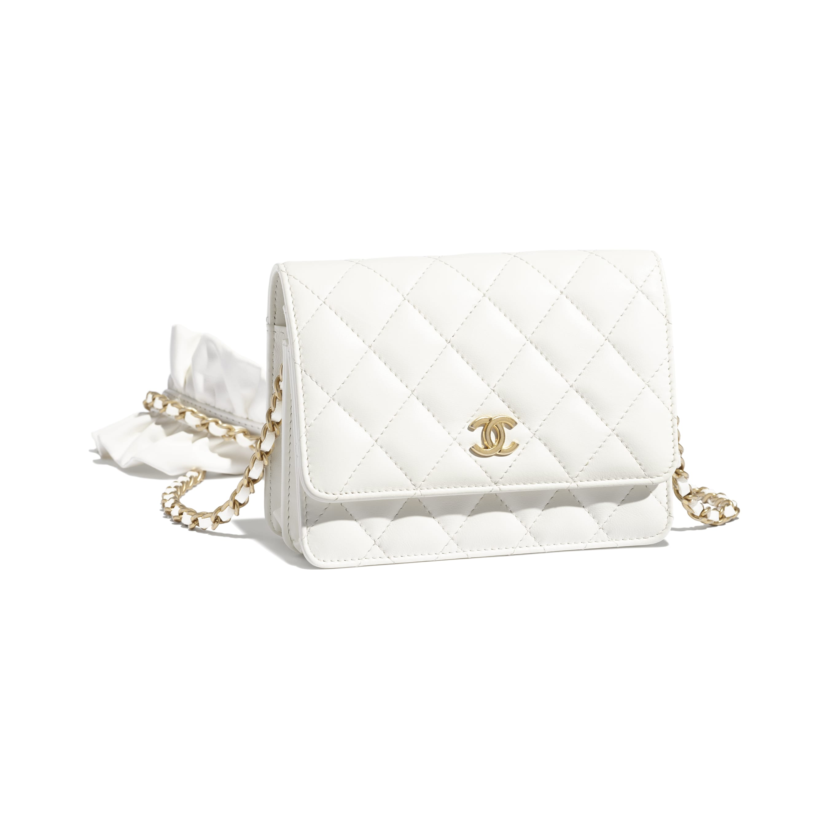 Mini Wallet on Chain - White - Lambskin - CHANEL - Extra view - see standard sized version