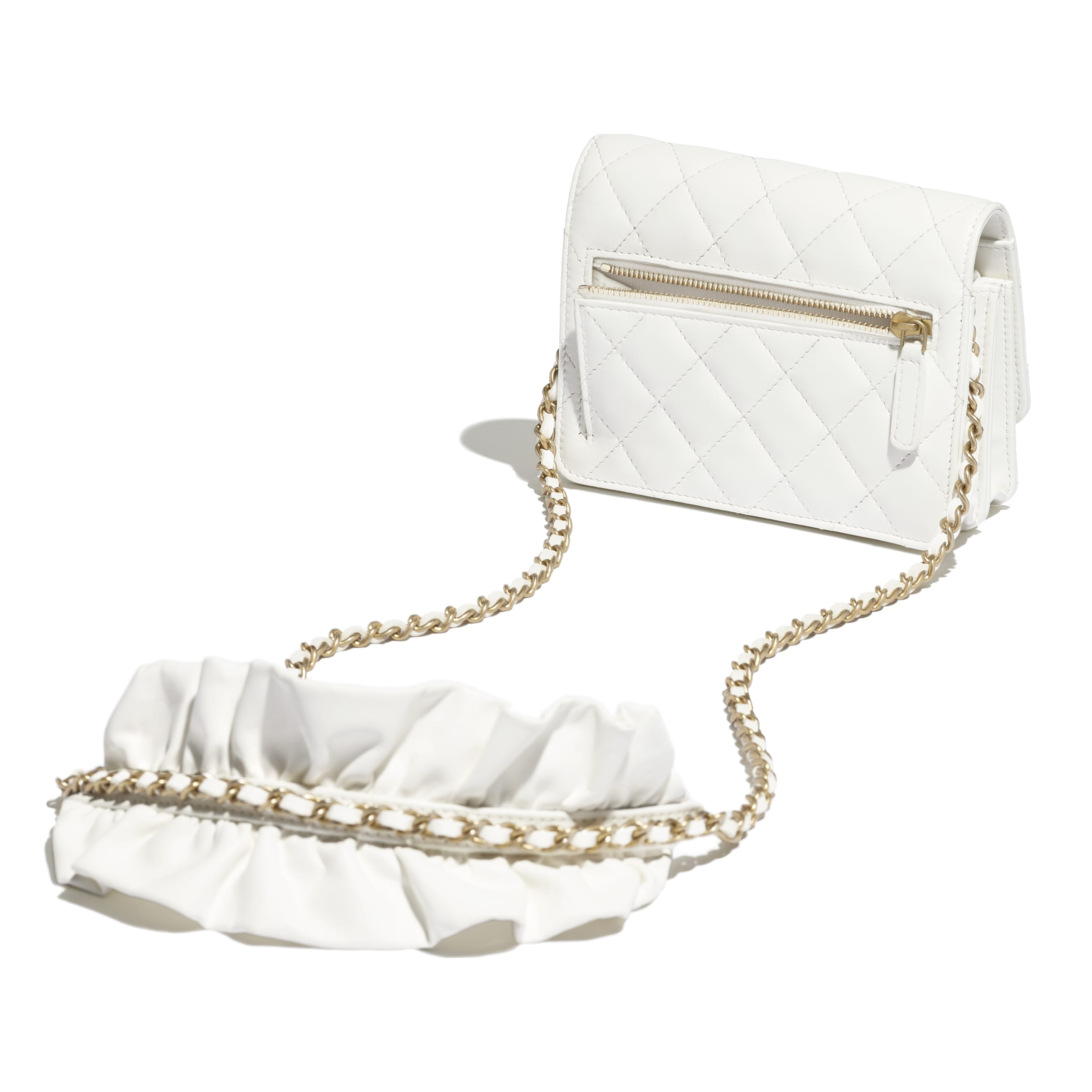 Mini Wallet on Chain - White - Lambskin - CHANEL - Other view - see standard sized version