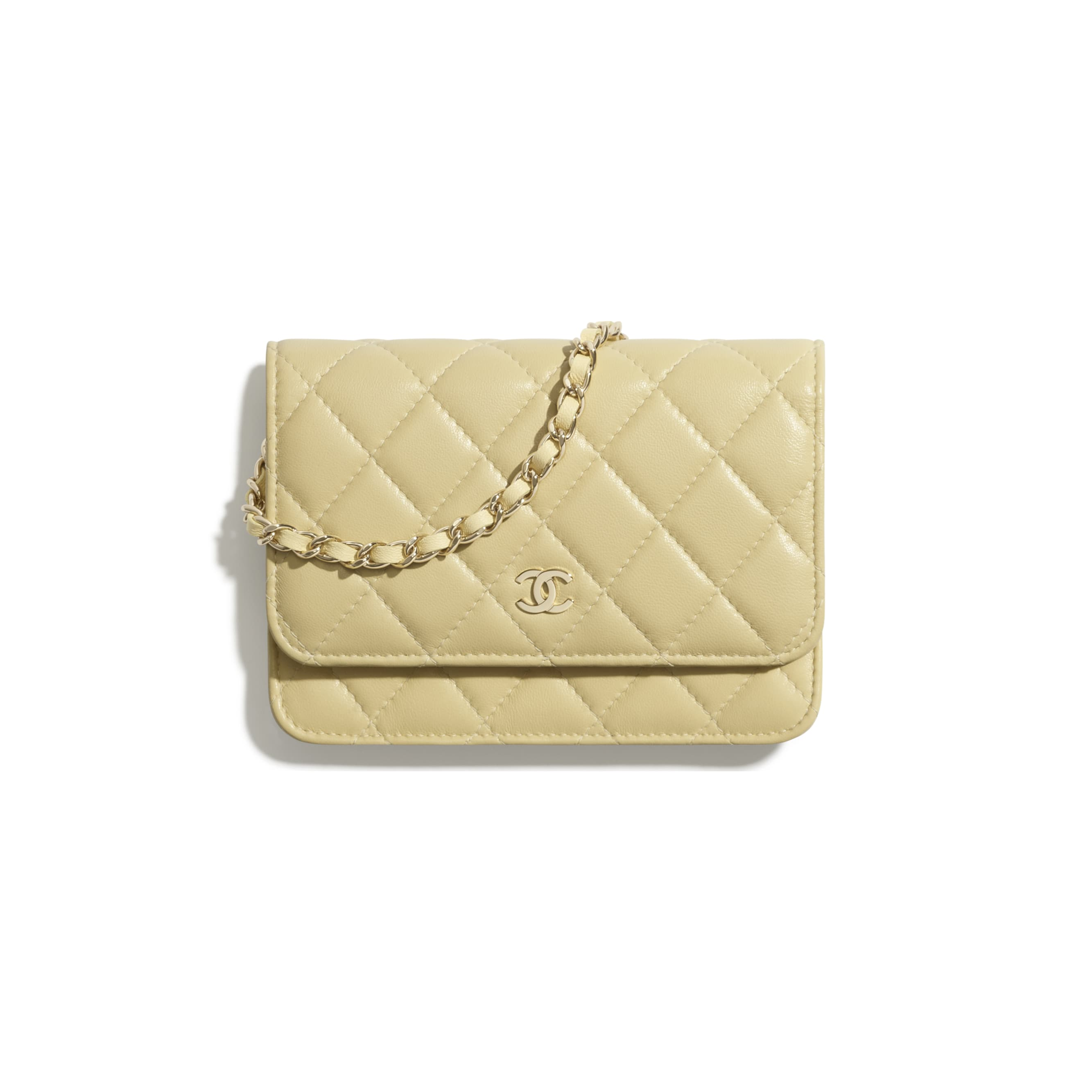 Mini Wallet on Chain - Yellow - Lambskin - CHANEL - Default view - see standard sized version