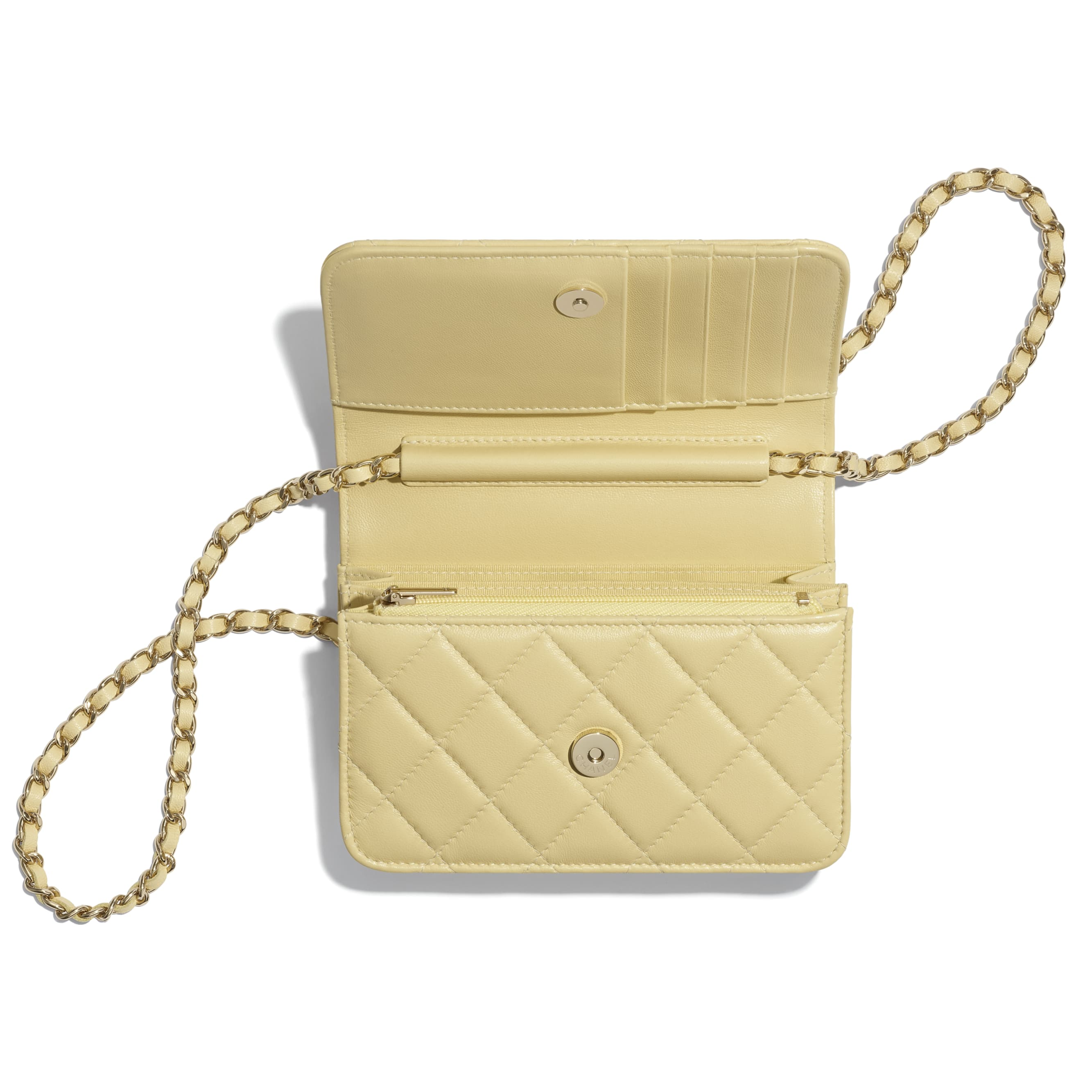 Mini Wallet on Chain - Yellow - Lambskin - CHANEL - Other view - see standard sized version
