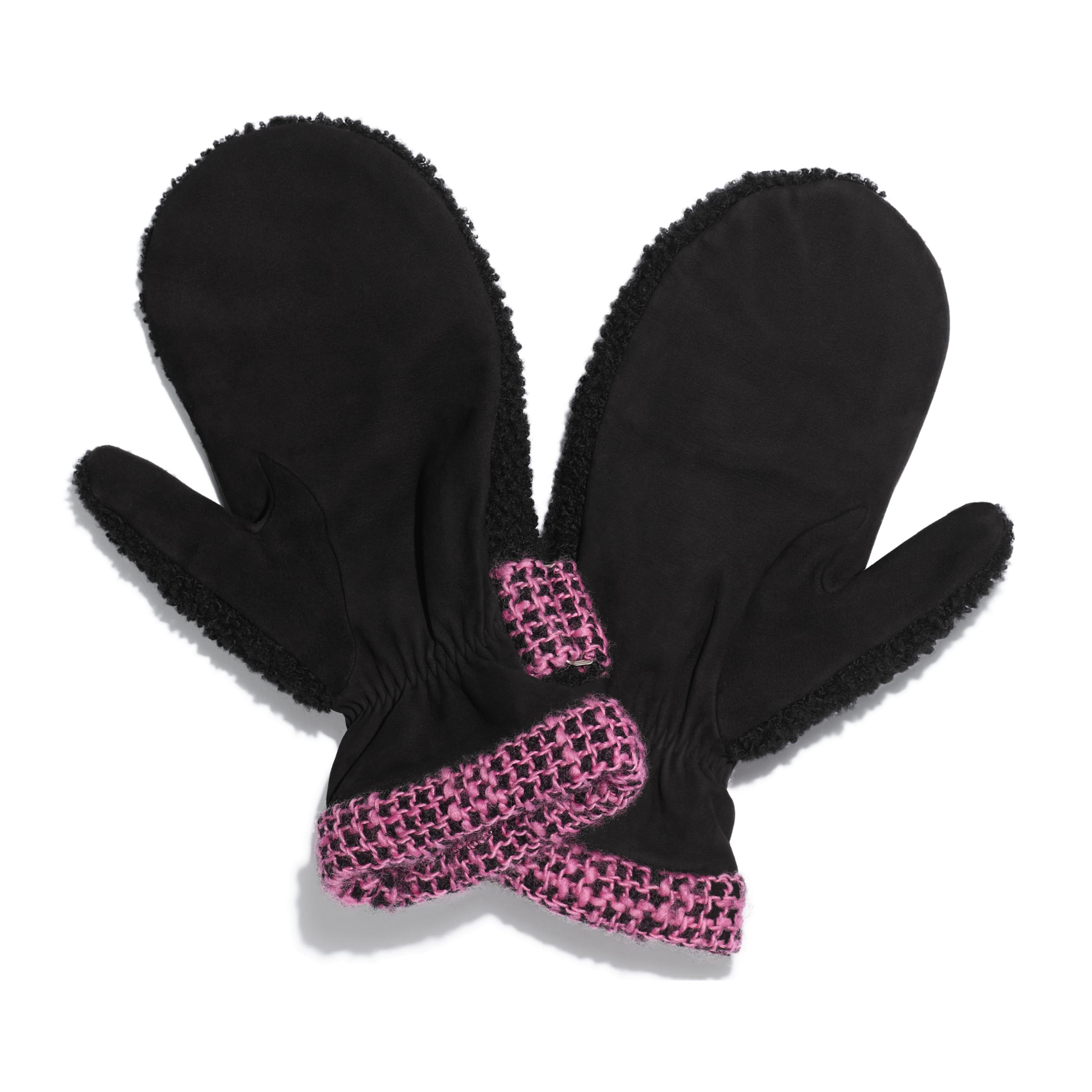 Mittens - Black & Pink - Shearling & Tweed - Alternative view - see standard sized version