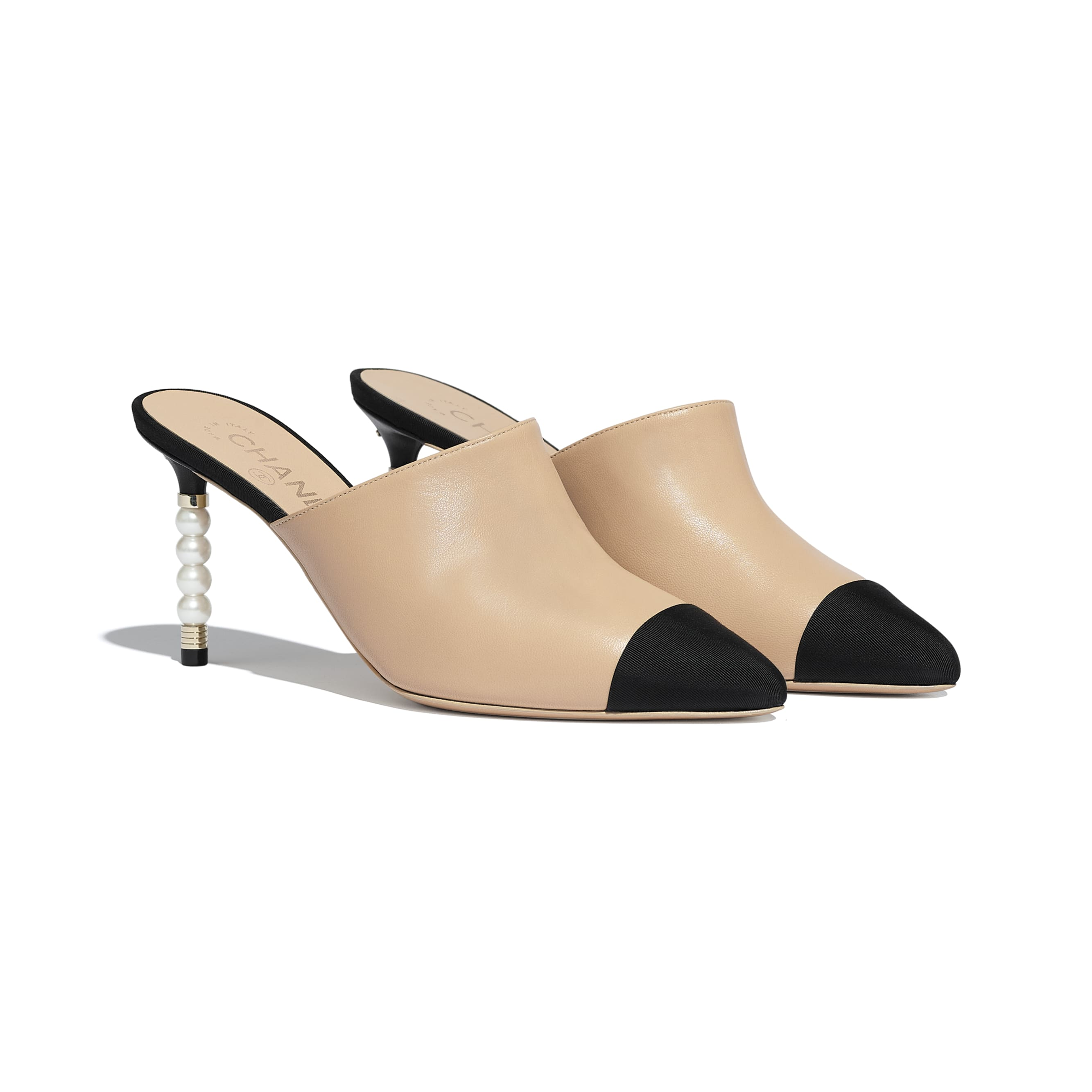 Mules - Beige & Black - Lambskin & Grosgrain - Alternative view - see standard sized version